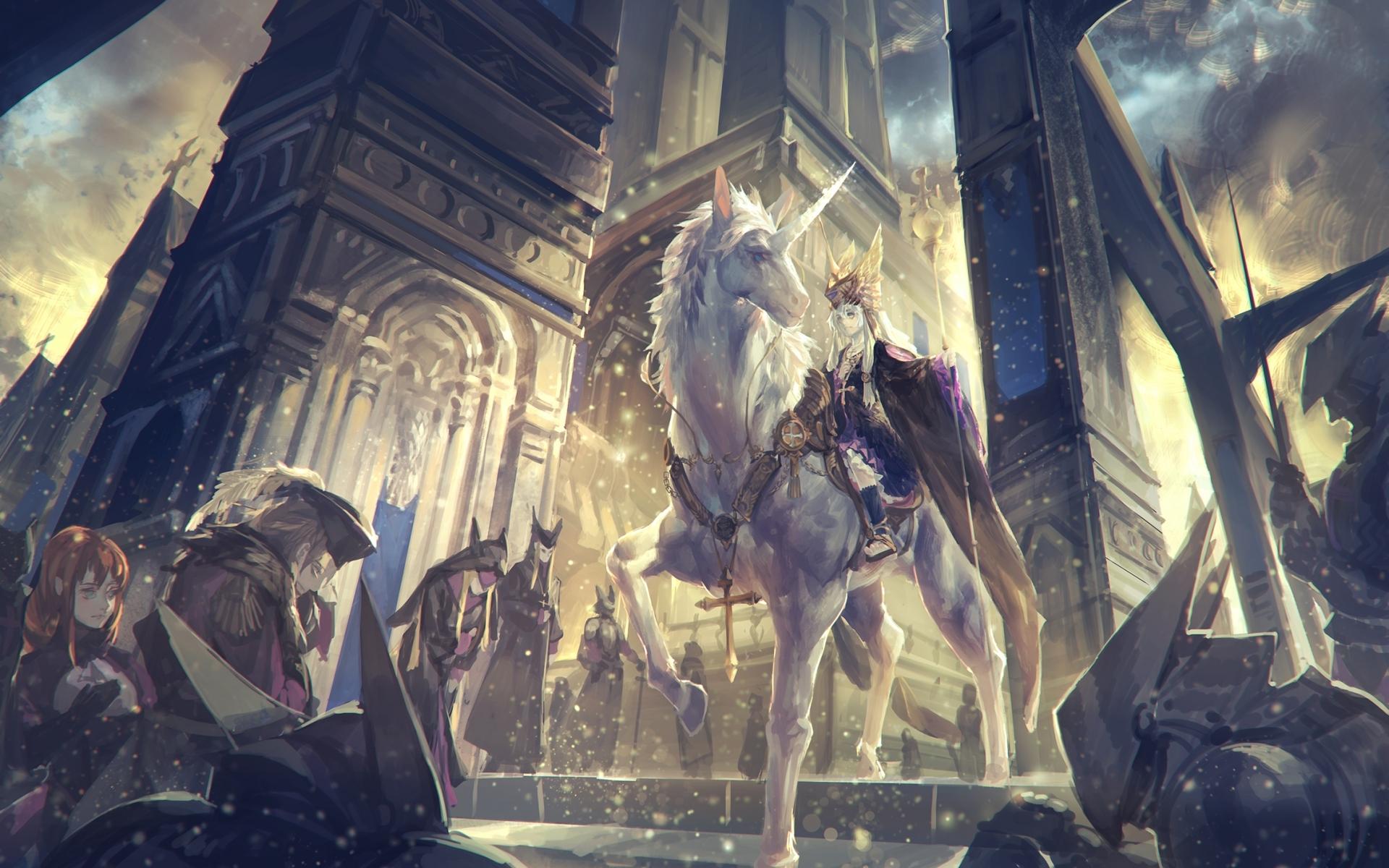 28553 Hintergrundbild herunterladen Anime, Unicorns - Bildschirmschoner und Bilder kostenlos
