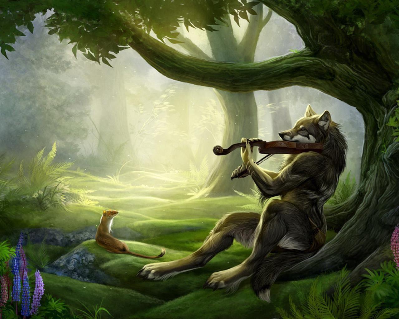 95138 Salvapantallas y fondos de pantalla Música en tu teléfono. Descarga imágenes de Fantasía, Lobo, Violín, Bosque, Música gratis
