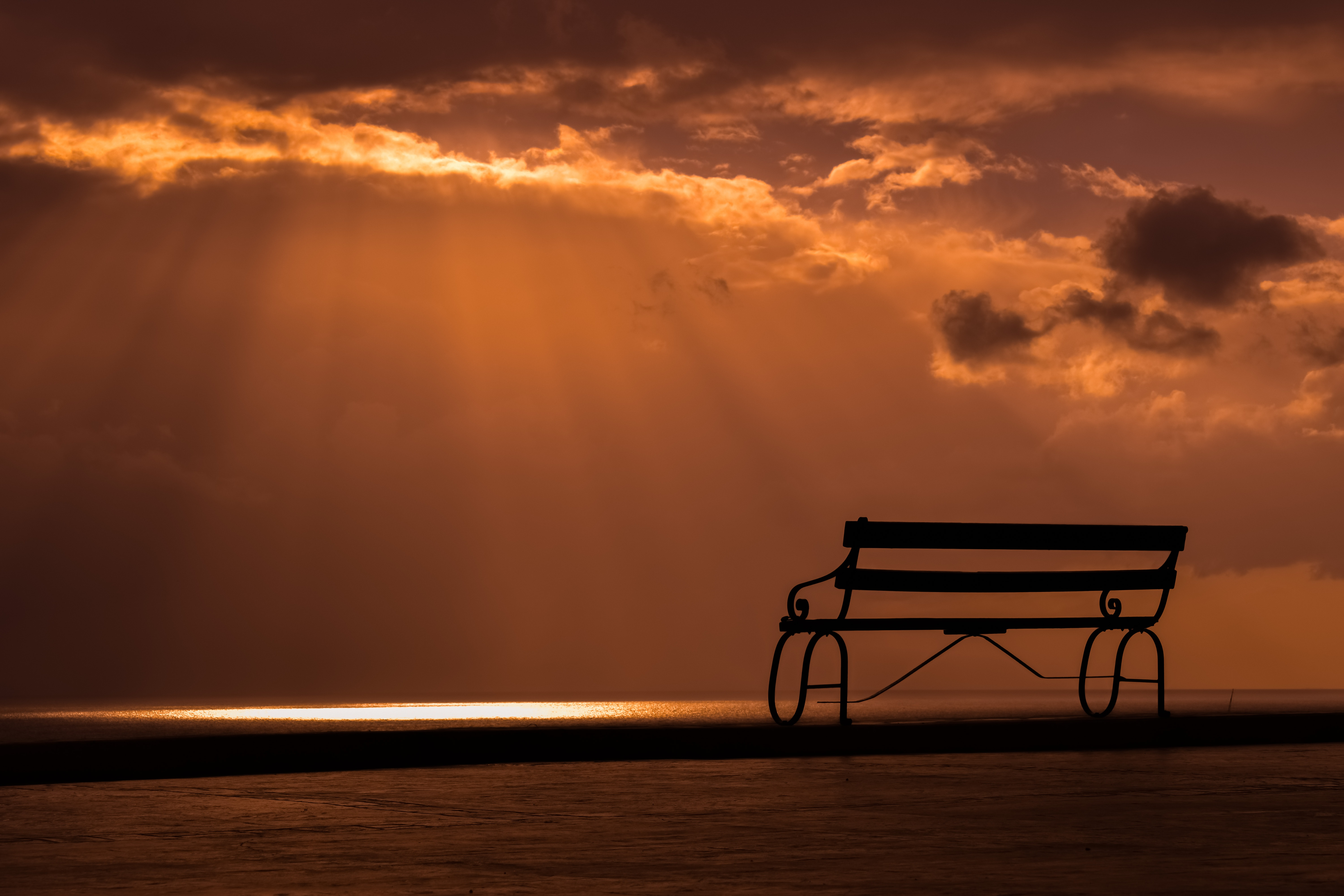 130686 Screensavers and Wallpapers Bench for phone. Download Nature, Sunset, Sky, Clouds, Bench pictures for free