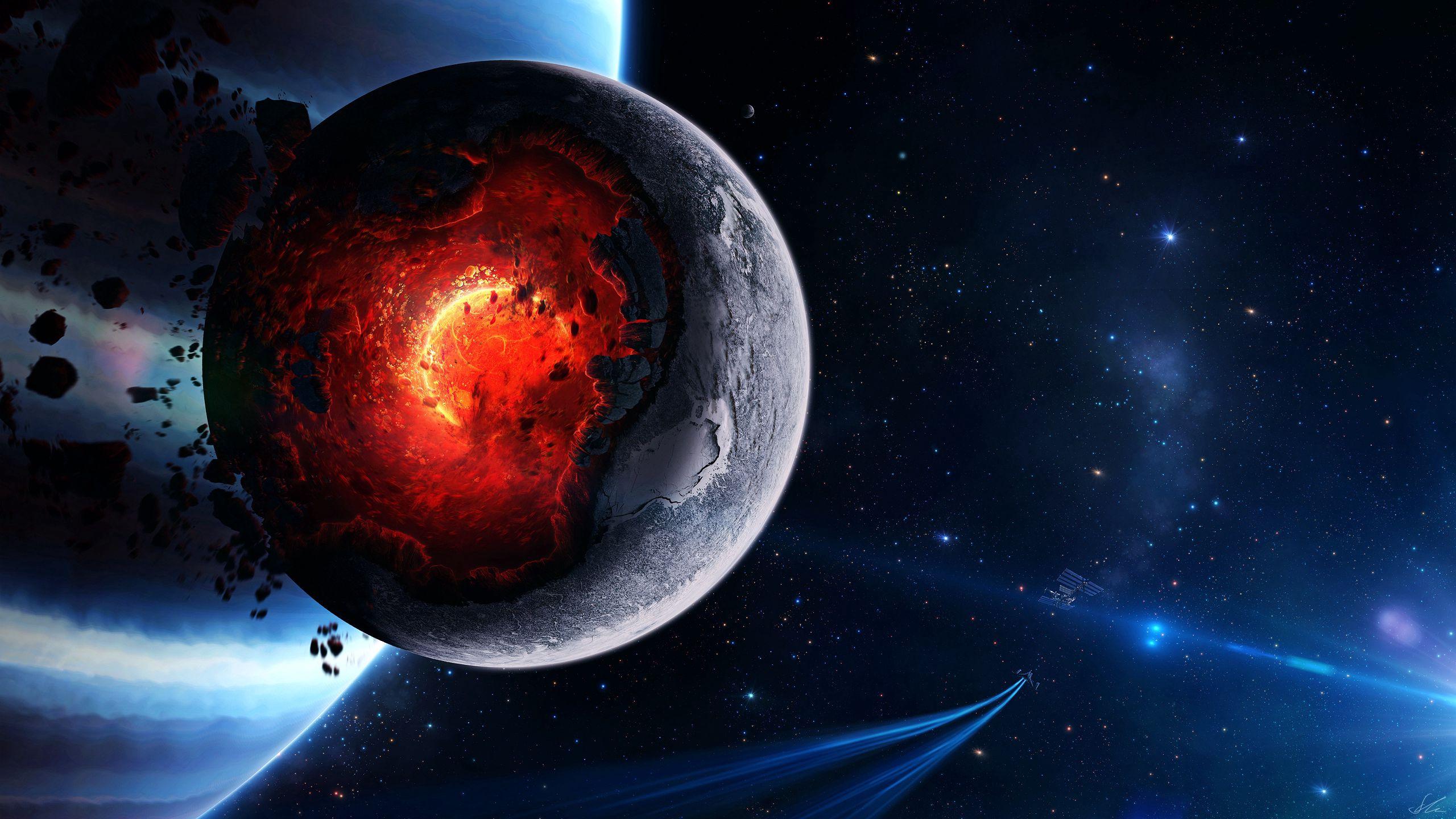 93512 免費下載壁紙 艺术, 行星, 宇宙, 爆炸, 残骸, 小行星, 彗星, 大灾变, 灾难 屏保和圖片