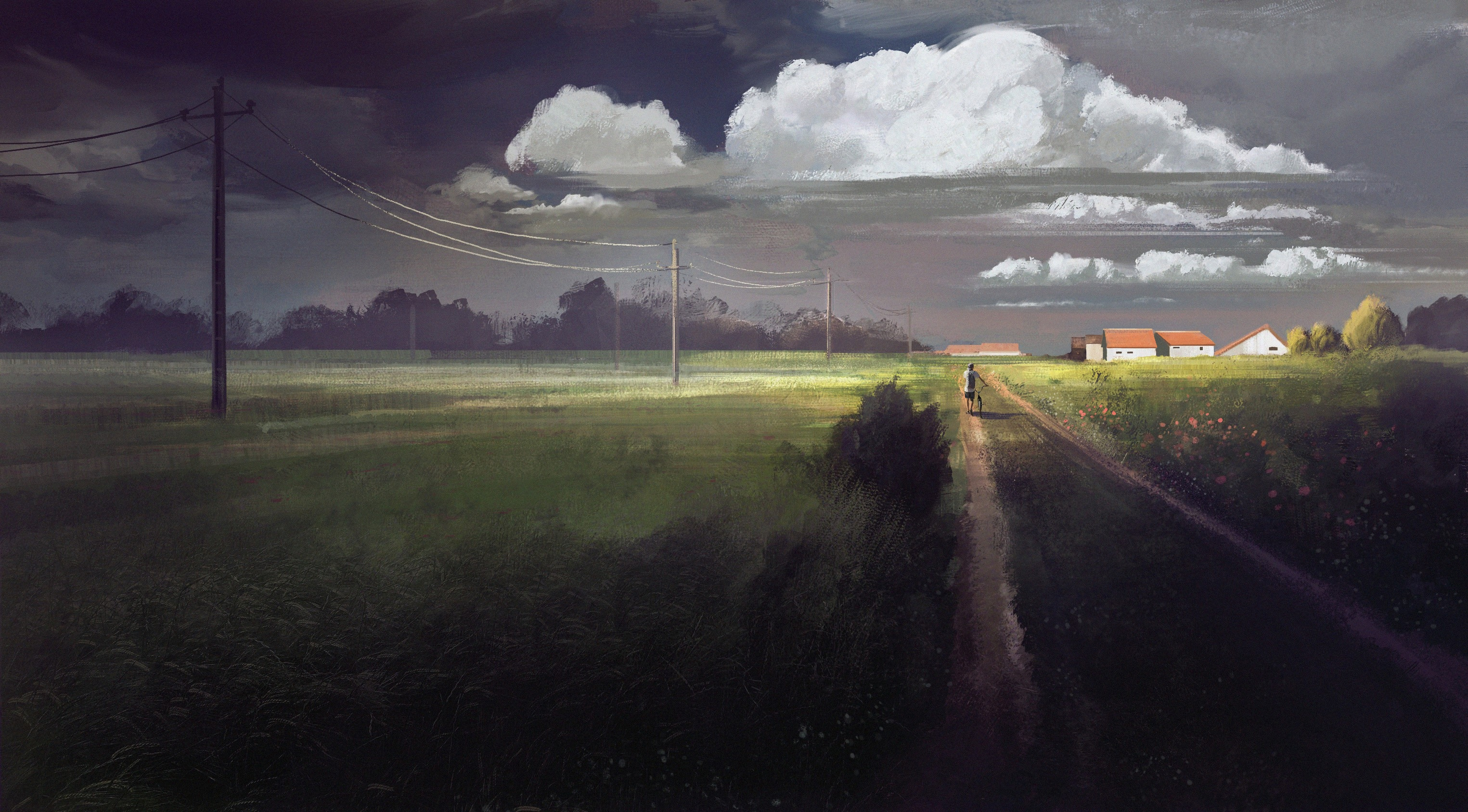 152431 Screensavers and Wallpapers Dahl for phone. Download Art, Road, House, Dahl, Distance, Bicycle pictures for free