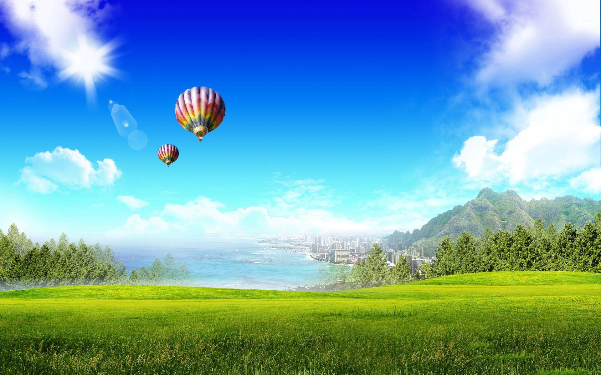 151593 скачать обои Природа, Поле, Зелень, Свет, Блики, Город, Солнце, Воздушные Шары - заставки и картинки бесплатно