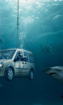 3576 baixar papel de parede Engraçado, Automóveis, Mar, Sharks, Vau - protetores de tela e imagens gratuitamente