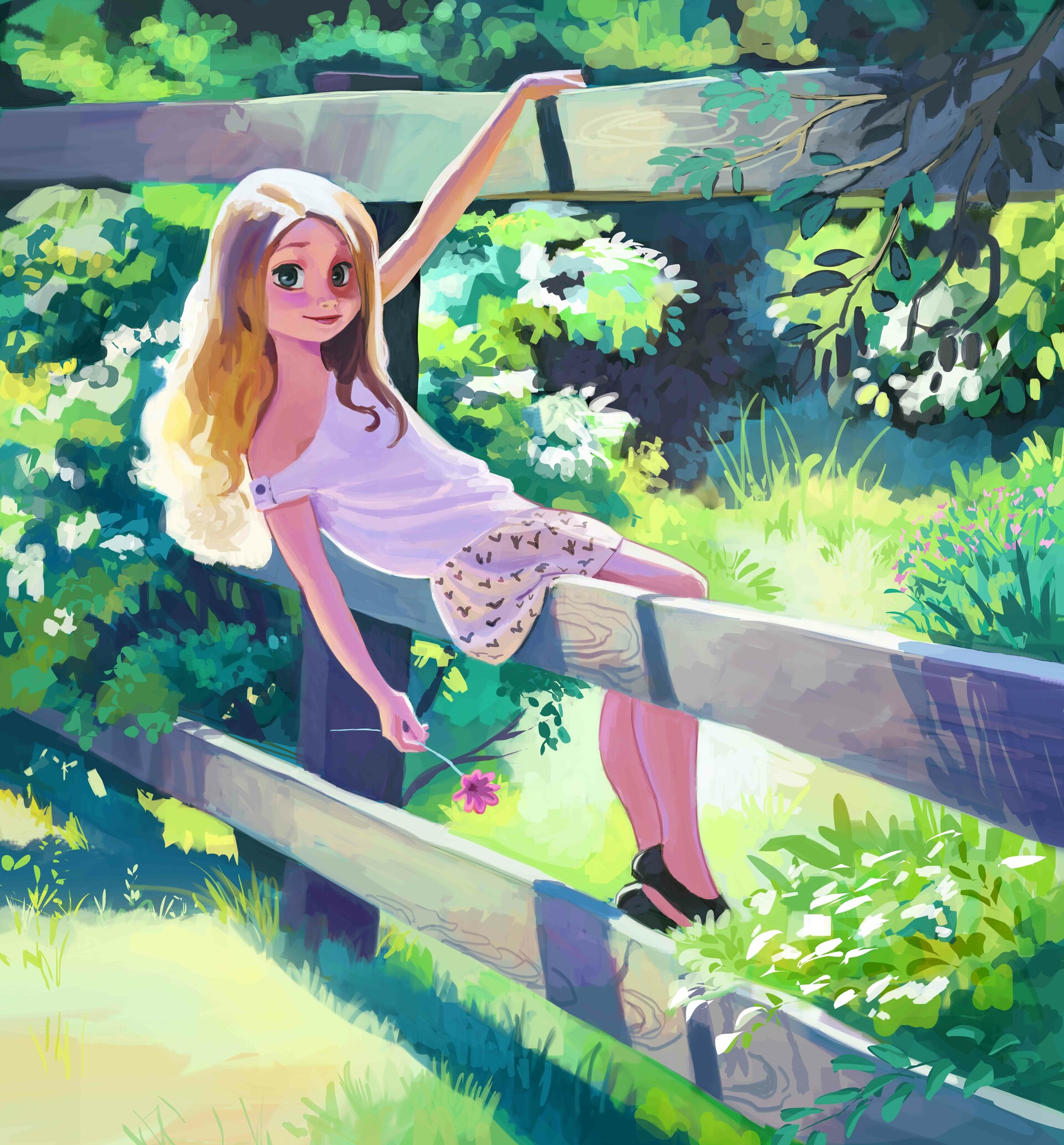 155104 download wallpaper Girl, Art, Summer, Fence, Stroll screensavers and pictures for free