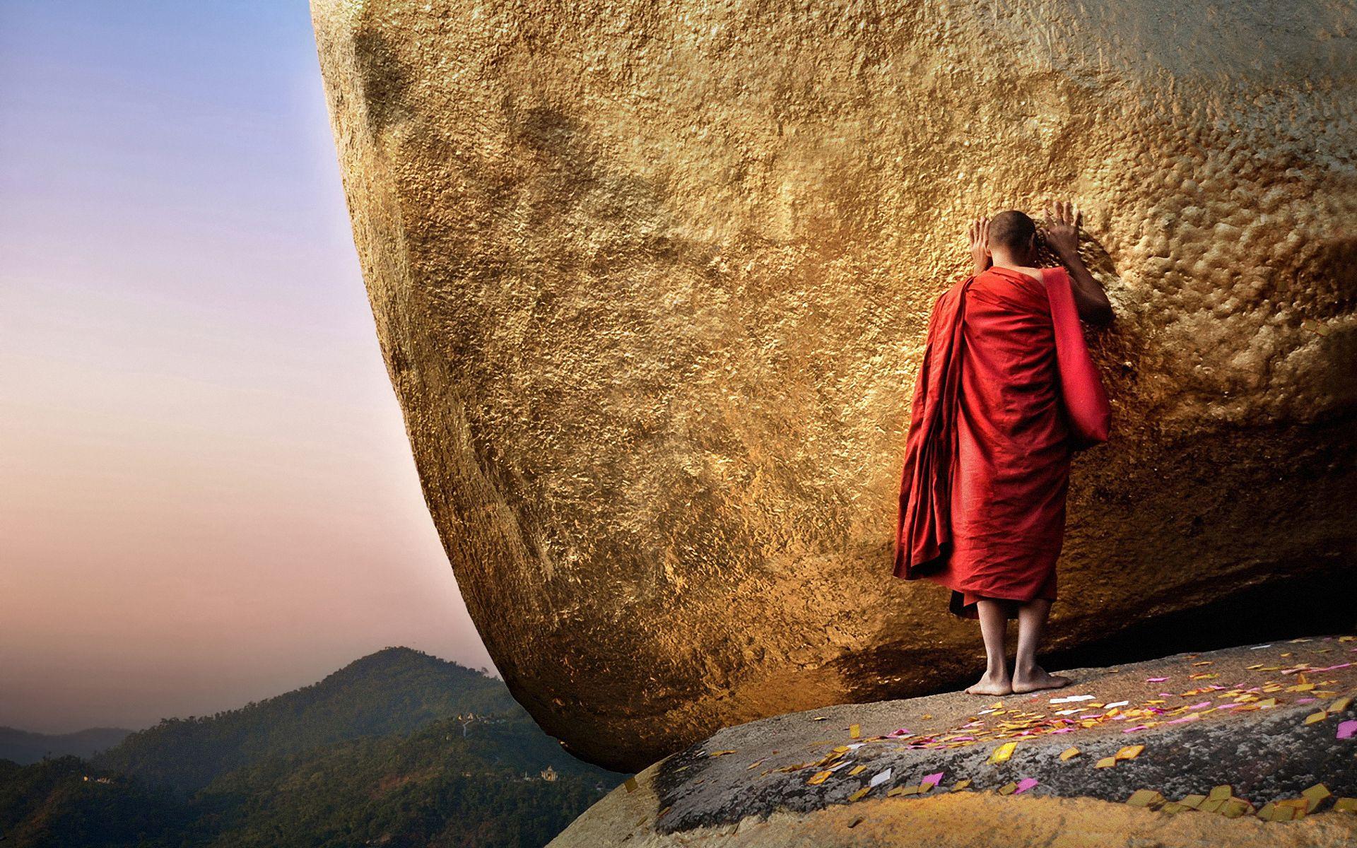 52673 скачать обои Разное, Будда, Чайттийо, Пагода, Золотая Гора, Монах, Бирма, Мьянма - заставки и картинки бесплатно
