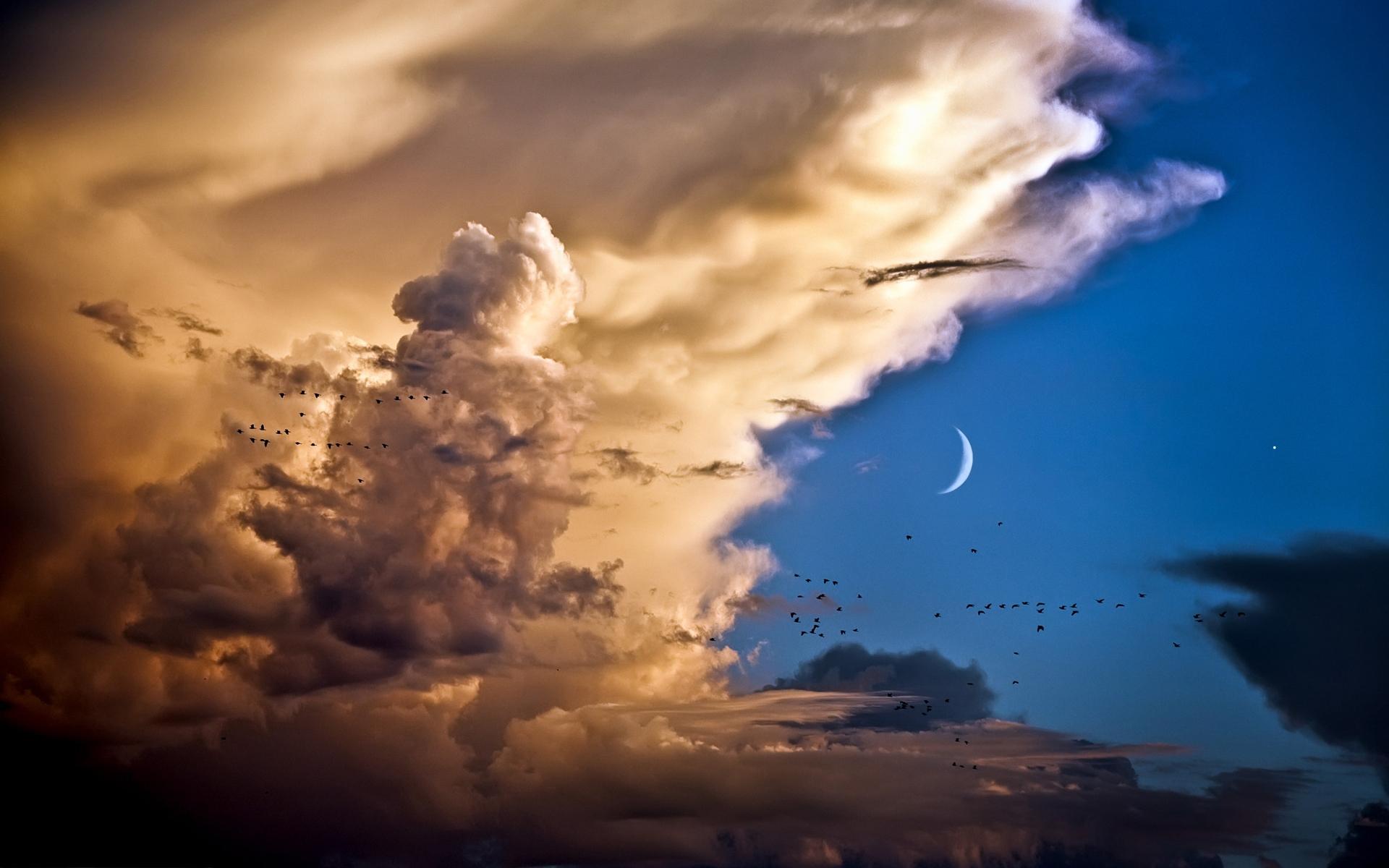 24448 скачать обои Пейзаж, Небо, Облака, Луна - заставки и картинки бесплатно