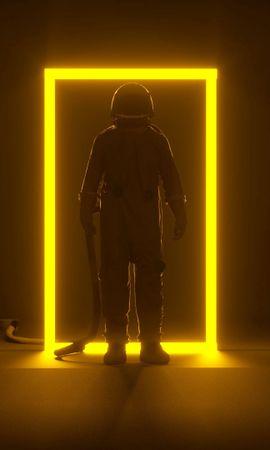 107252 Заставки и Обои Темные на телефон. Скачать Темные, Астронавт, Портал, Неон, Рамка, Свечение, Темный картинки бесплатно