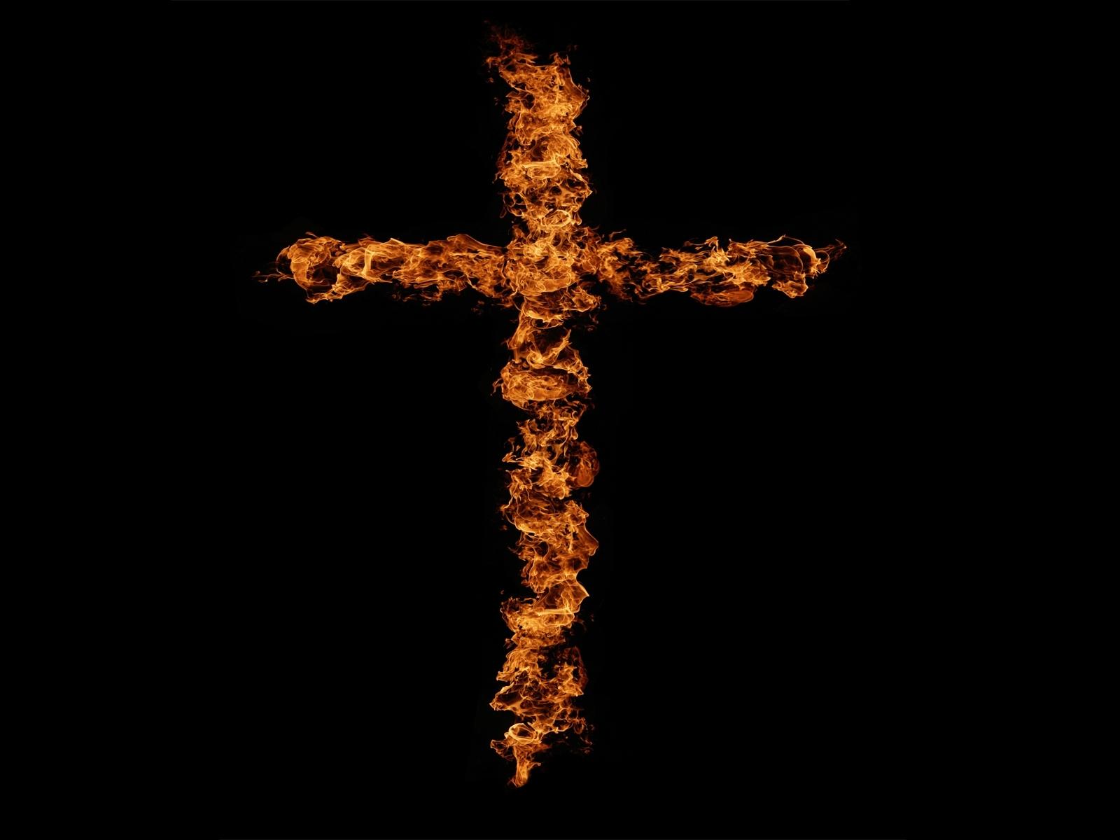 4966 скачать обои Кресты, Фон, Огонь - заставки и картинки бесплатно