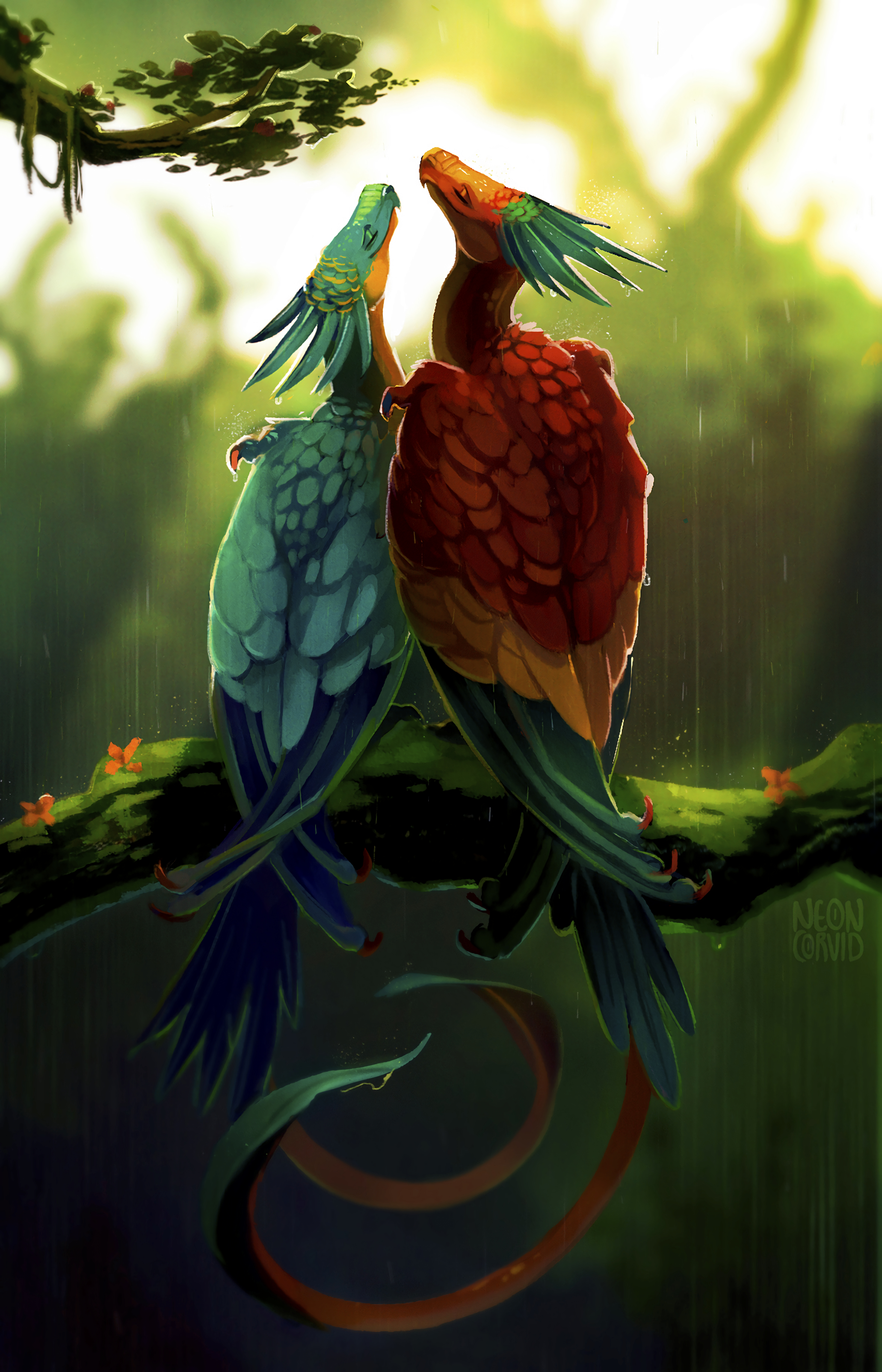 90402 Screensavers and Wallpapers Fiction for phone. Download Dragons, Birds, Art, Rain, Multicolored, Motley, Couple, Pair, Fiction, That's Incredible pictures for free