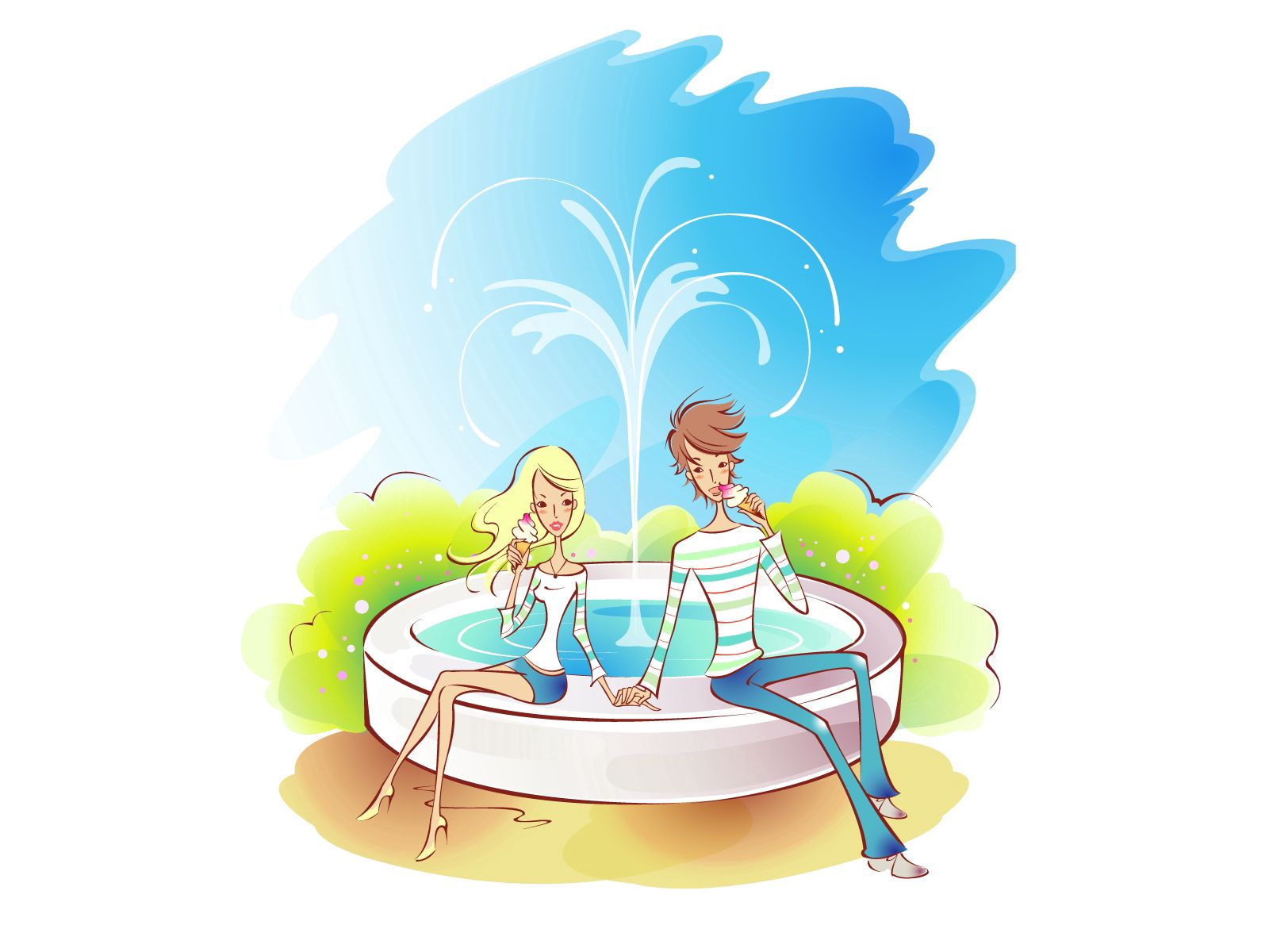 81696 Screensavers and Wallpapers Fountain for phone. Download Water, Art, Love, Fountain, Couple, Pair, Picture, Drawing, Stroll pictures for free