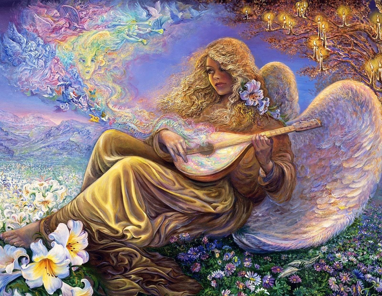 103175 Hintergrundbild herunterladen Engel, Musik, Blumen, Mädchen, Fantasie, Kerzen, Melodie - Bildschirmschoner und Bilder kostenlos