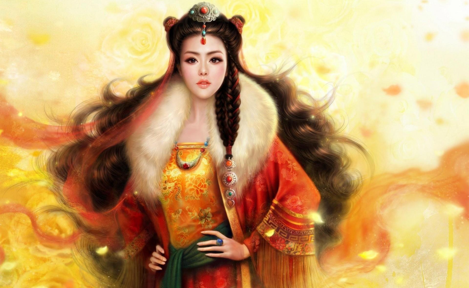 114740 скачать обои Девушка, Фэнтези, Волосы, Костюм, Азиатка - заставки и картинки бесплатно