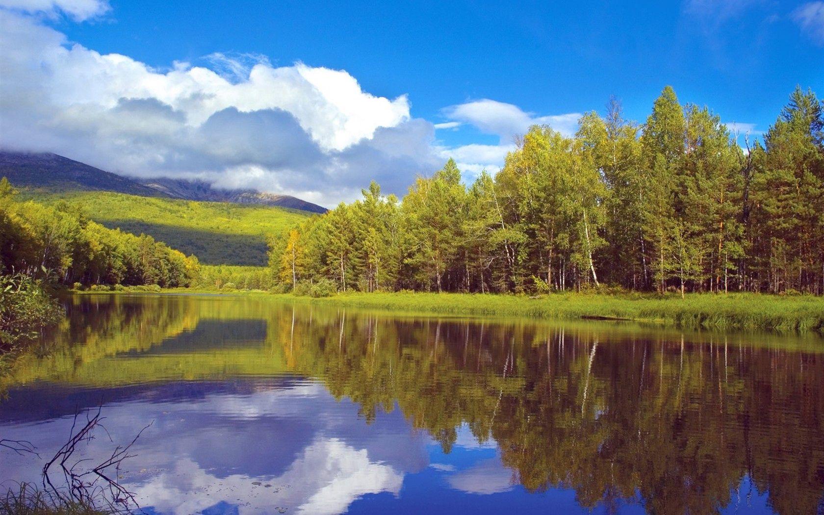 107030 скачать обои Природа, Деревья, Берег, Озеро, Сибирь, Лес, Отражение, Небо, Облака - заставки и картинки бесплатно