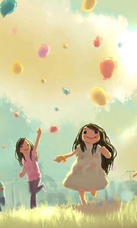 141994 Заставки и Обои Дети на телефон. Скачать Арт, Дети, Прыжок, Бег, Трава, Праздник, Воздушные Шары картинки бесплатно