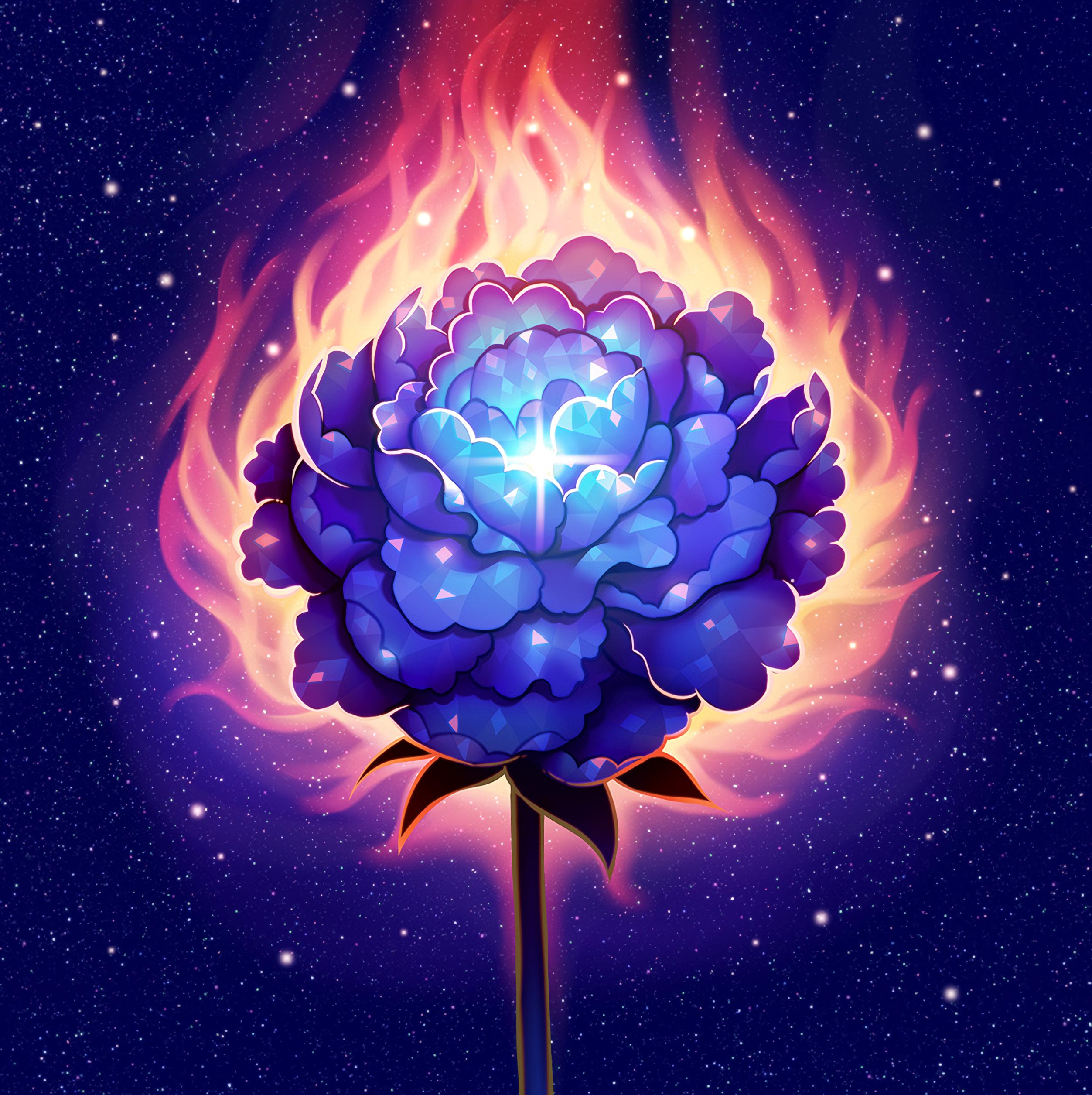 131161 Заставки и Обои Огонь на телефон. Скачать Огонь, Арт, Сияние, Цветок, Блики картинки бесплатно