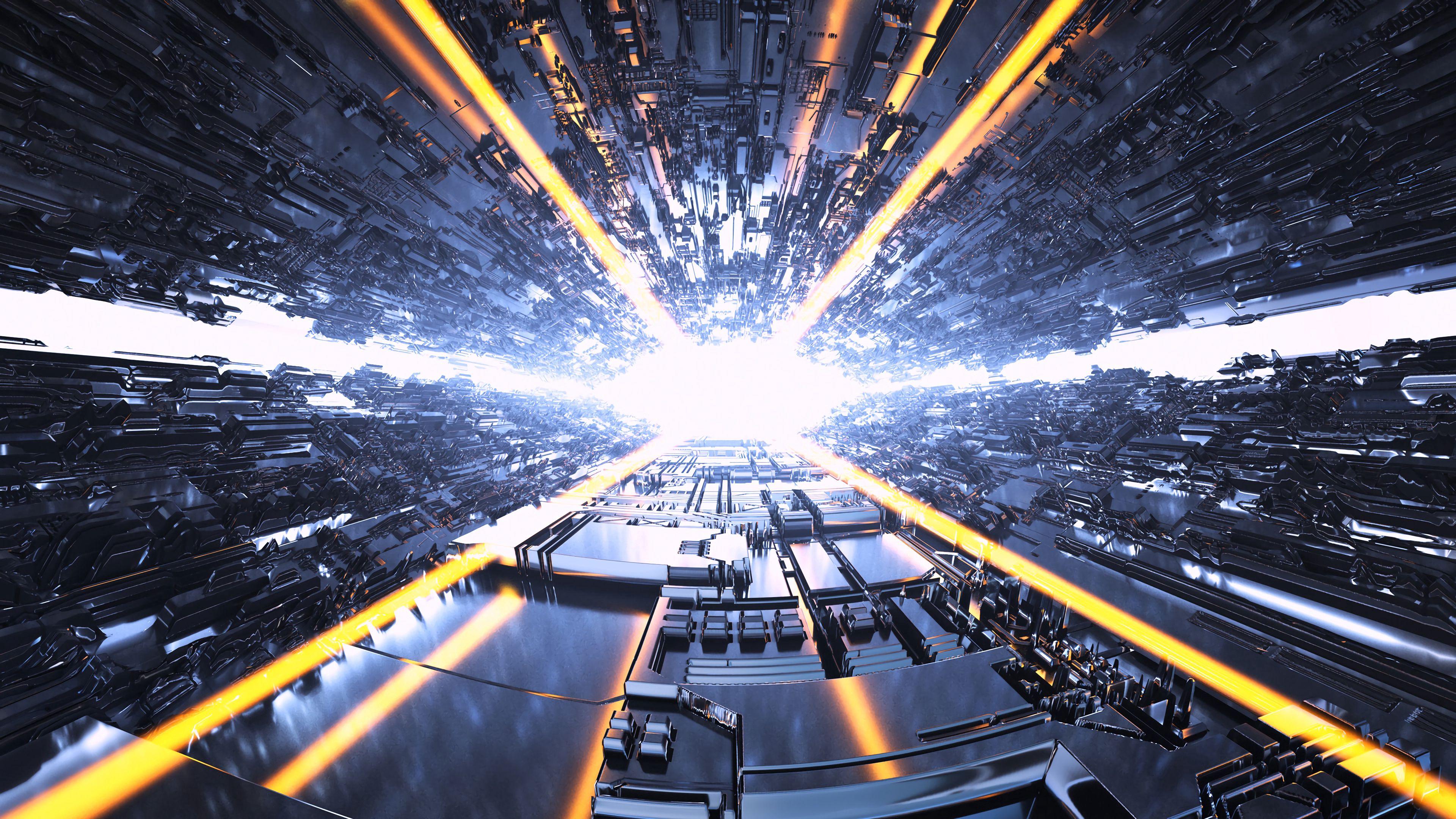 105940壁紙のダウンロードトンネル, 輝く, 光, ビーム, 光線, 明るい, アート-スクリーンセーバーと写真を無料で