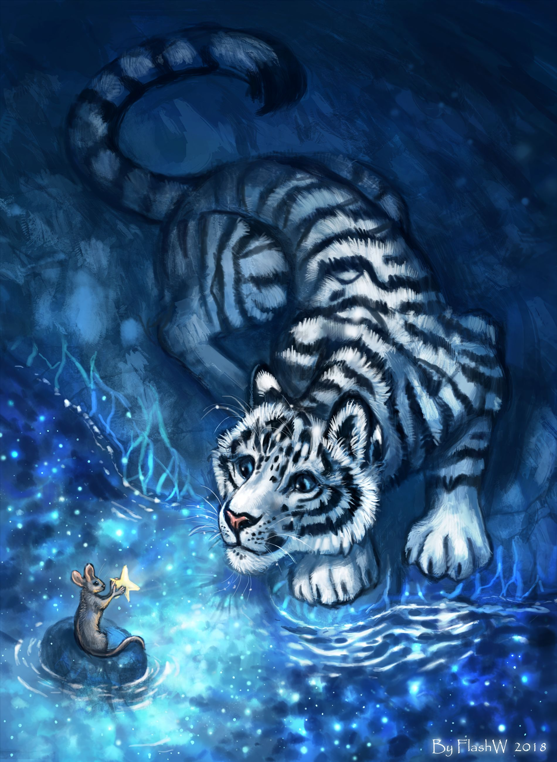 68550 download wallpaper Tiger, Mouse, Young, Joey, Art, Beasts, Nice, Sweetheart screensavers and pictures for free