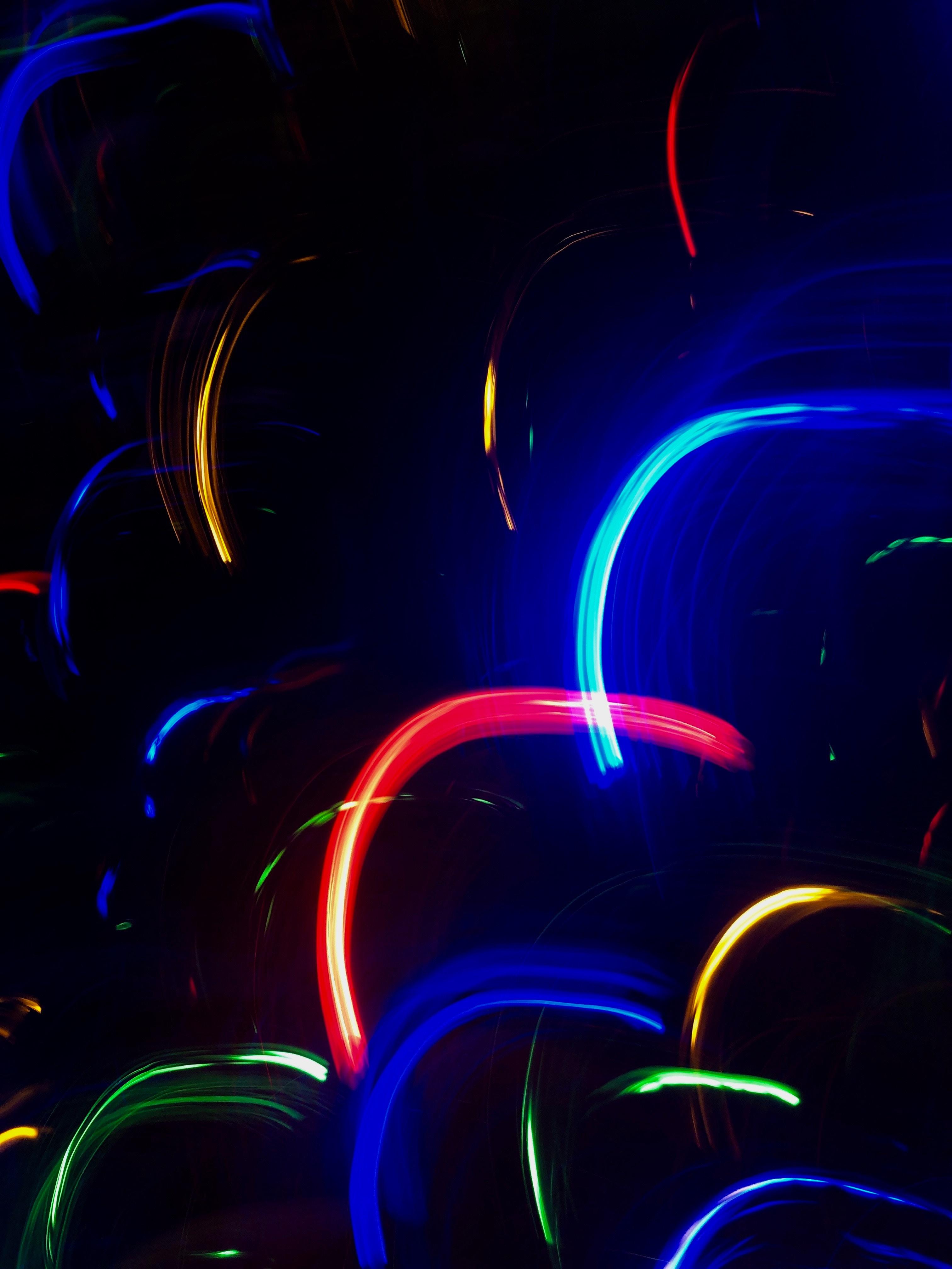 67108 fond d'écran 720x1520 sur votre téléphone gratuitement, téléchargez des images Sombre, Multicolore, Hétéroclite, Lignes, Néon, Rétroéclairage, Illumination, Arc 720x1520 sur votre mobile