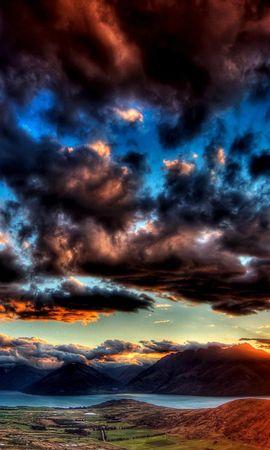 21055 скачать обои Пейзаж, Закат, Небо, Горы, Облака - заставки и картинки бесплатно