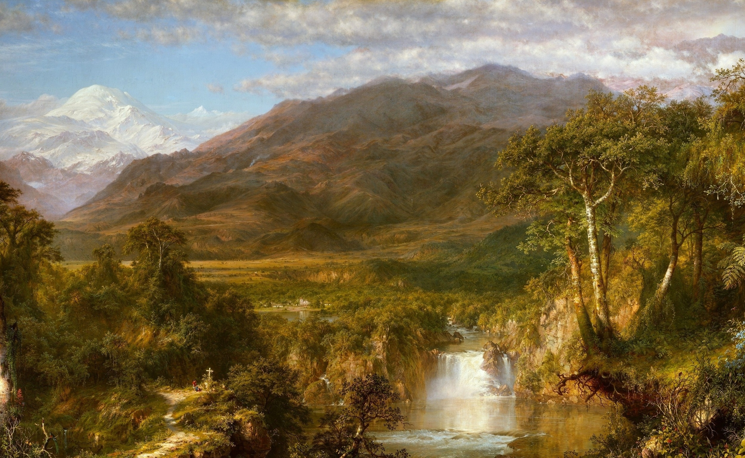 127923 download wallpaper Nature, Painting, Canvas, Art, Waterfall, Greatness, Grandeur, Butter, Oil, Mountains screensavers and pictures for free