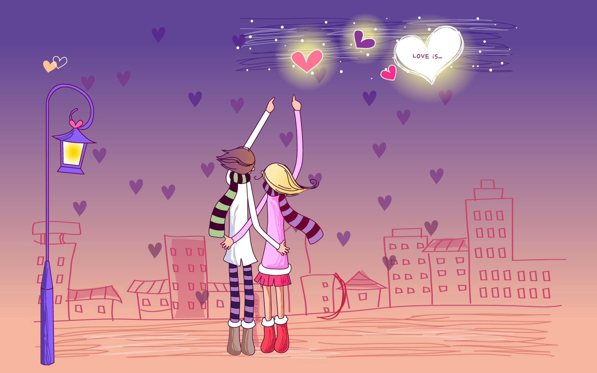 145800 download wallpaper Vector, Couple, Pair, Stroll, Evening, City, Relations, Feelings screensavers and pictures for free