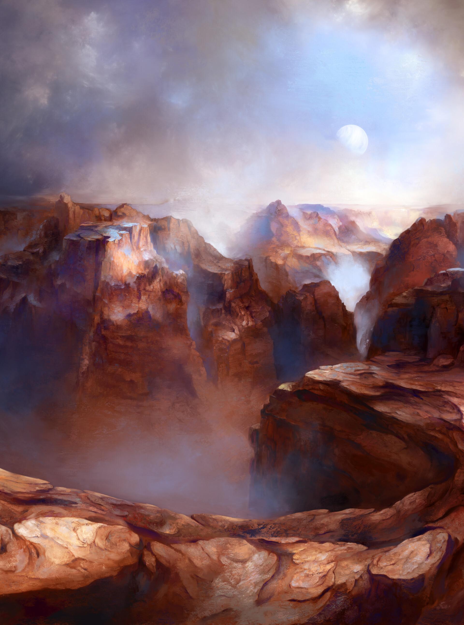141398 免費下載壁紙 峡谷, 石头, 岩石, 月球, 多雾路段, 雾, 艺术 屏保和圖片