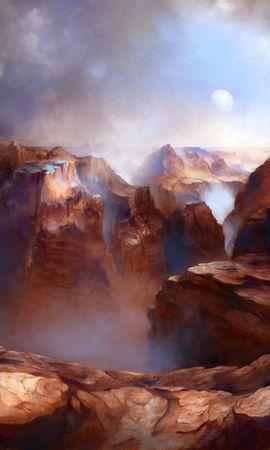 141398 télécharger le fond d'écran Canyon, Les Rochers, Roches, Lune, Brouillard, Art - économiseurs d'écran et images gratuitement