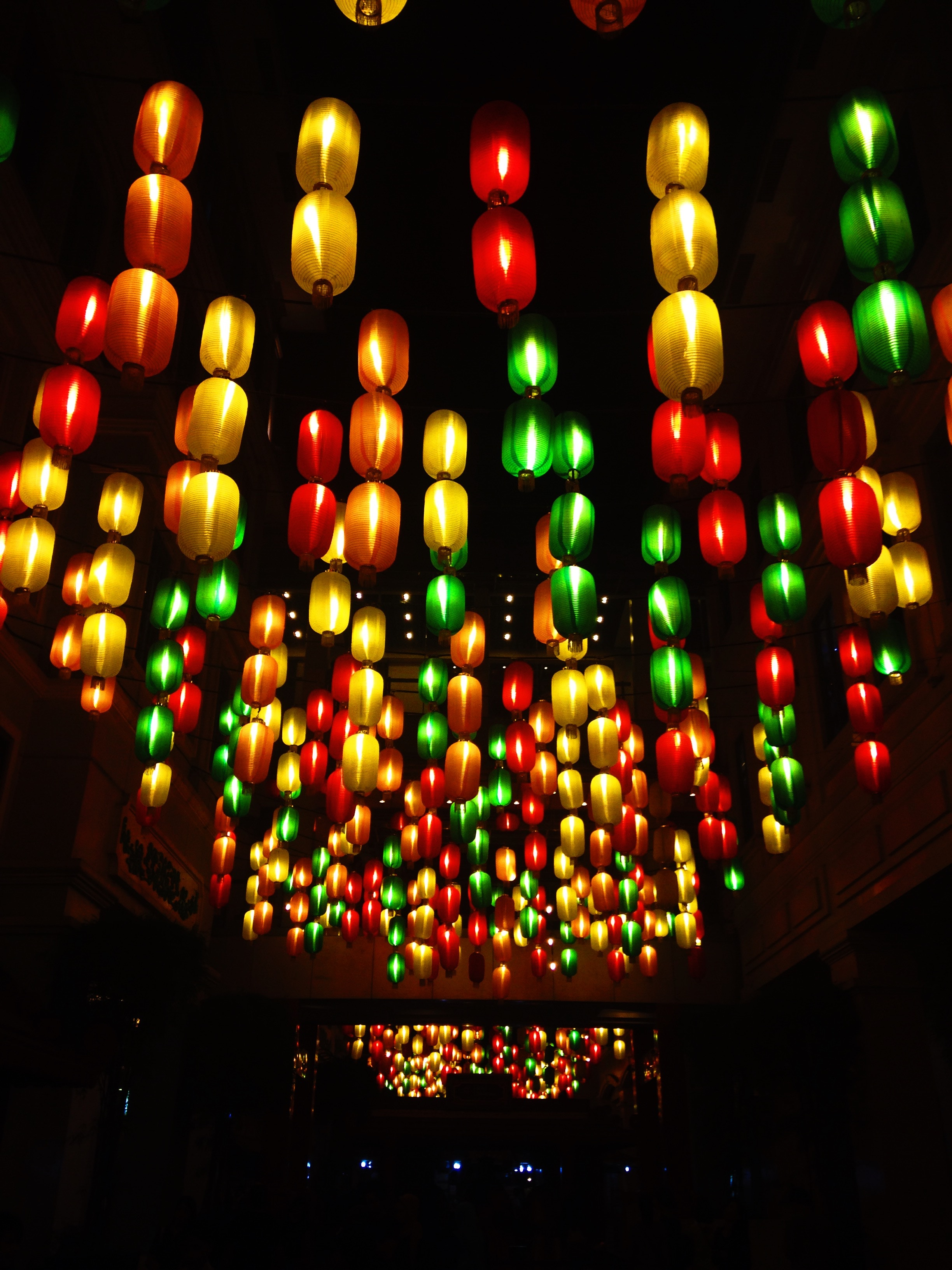 153647 download wallpaper Dark, Lamps, Lamp, Chandeliers, Multicolored, Motley, Lighting, Illumination, Ceiling screensavers and pictures for free
