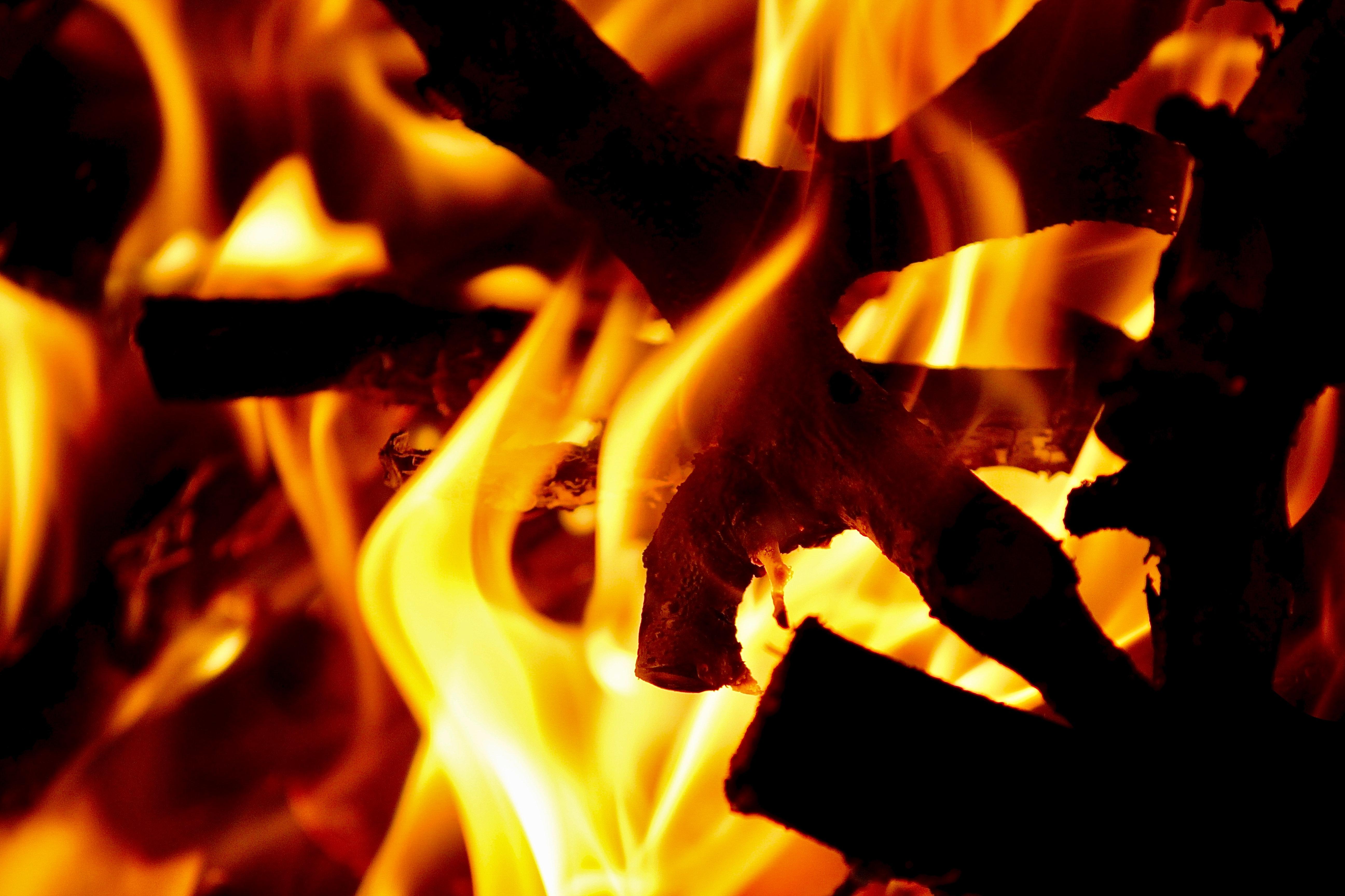 115134 免費下載壁紙 黑暗的, 黑暗, 火, 火焰, 篝火, 日志, 原木 屏保和圖片