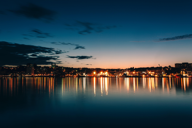 135030 скачать обои Канада, Ночной Город, Горизонт, Небо, Море, Города - заставки и картинки бесплатно