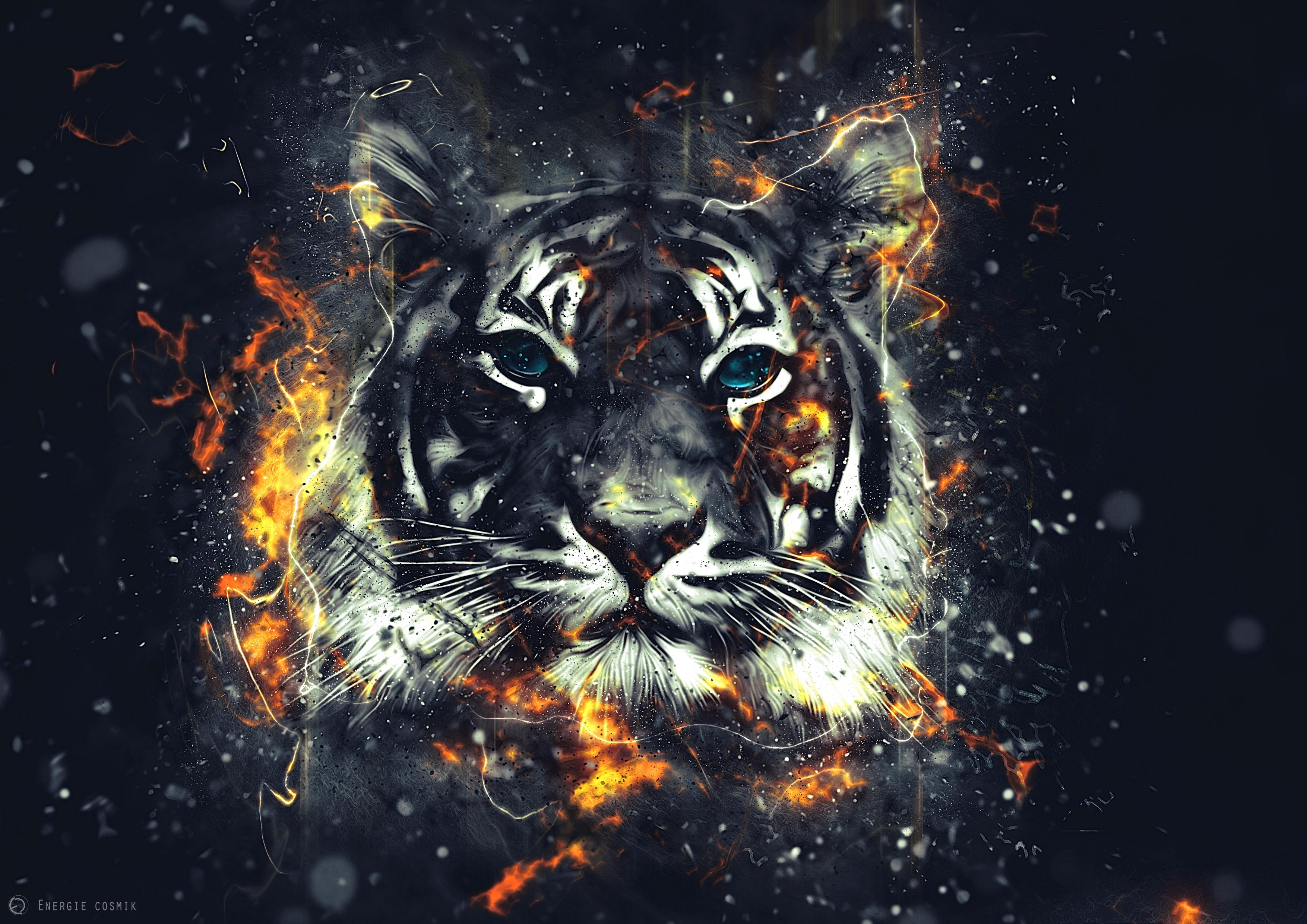97694 Hintergrundbild herunterladen Blitz, Kunst, Funken, Tiger, Ausbrüche - Bildschirmschoner und Bilder kostenlos