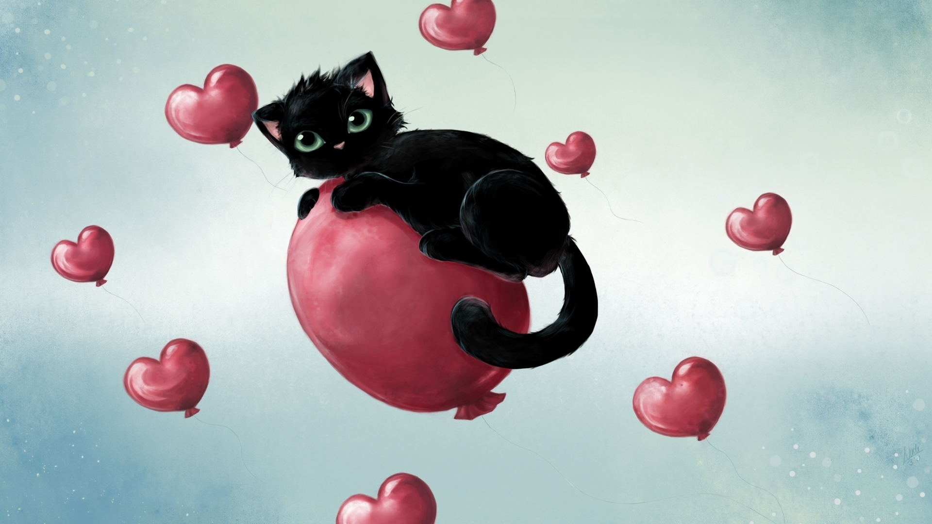 21206 download wallpaper Animals, Cats, Pictures, Balloons screensavers and pictures for free