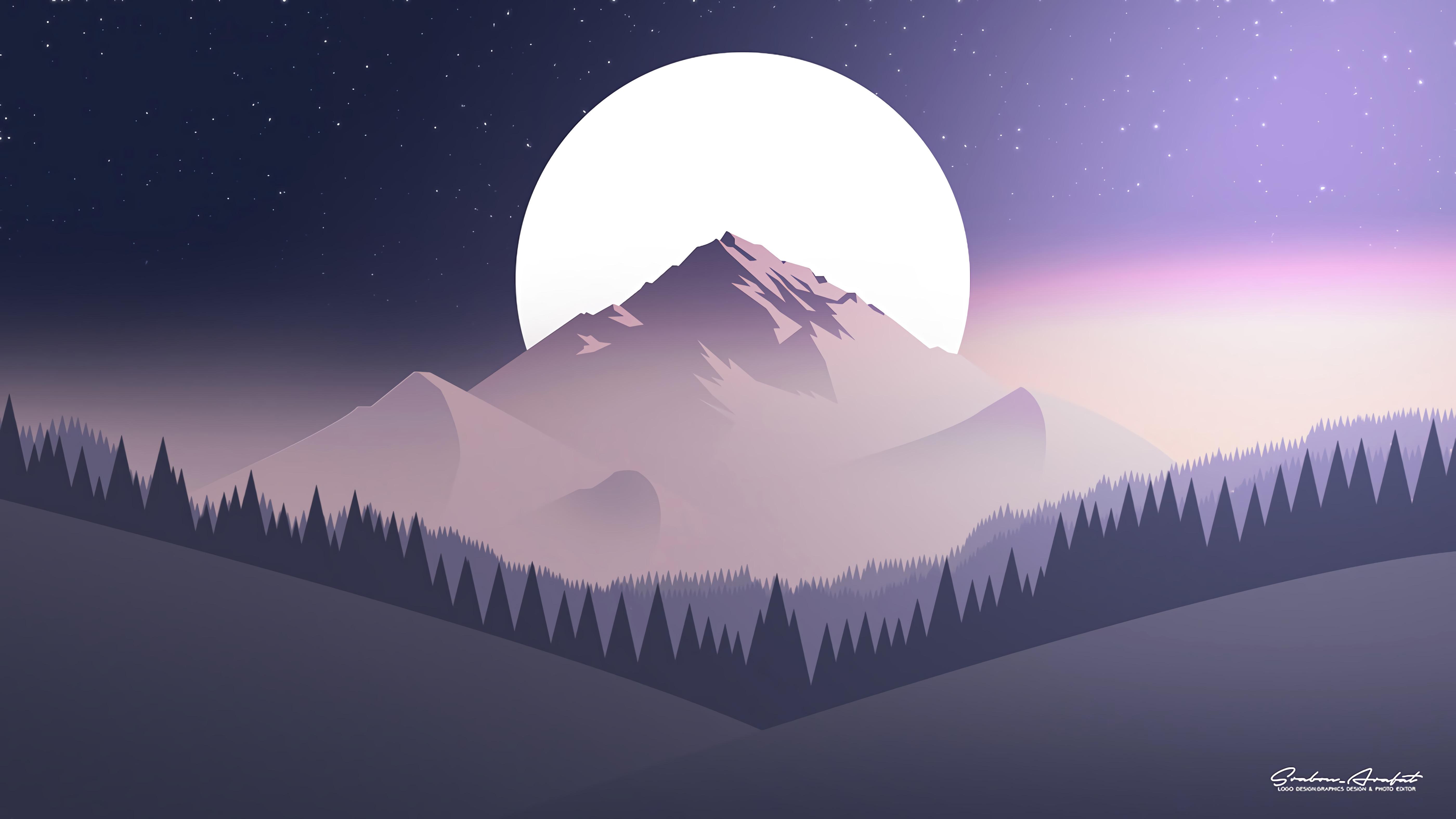 152481 Заставки и Обои Луна на телефон. Скачать Луна, Вектор, Горы, Ночь, Лес, Звездное Небо, Плоский картинки бесплатно