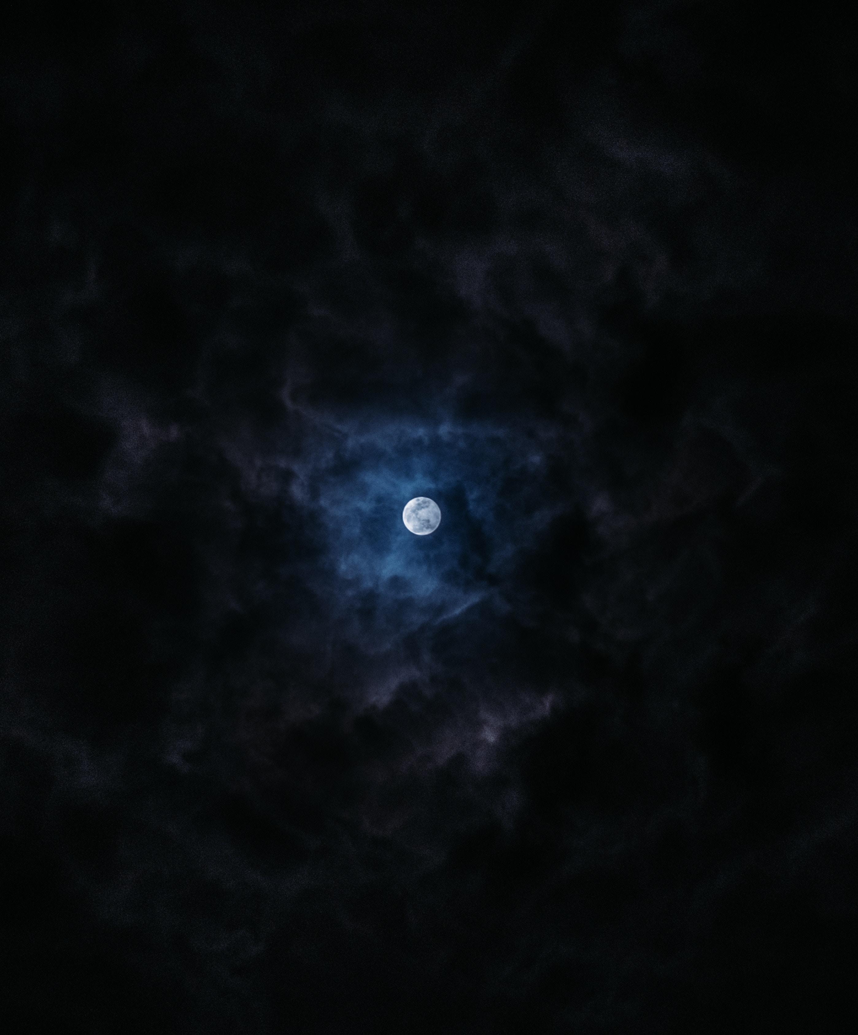 155033 Protetores de tela e papéis de parede Lua em seu telefone. Baixe Lua, Céu, Noite, Nuvens, Escuro, Lua Cheia fotos gratuitamente