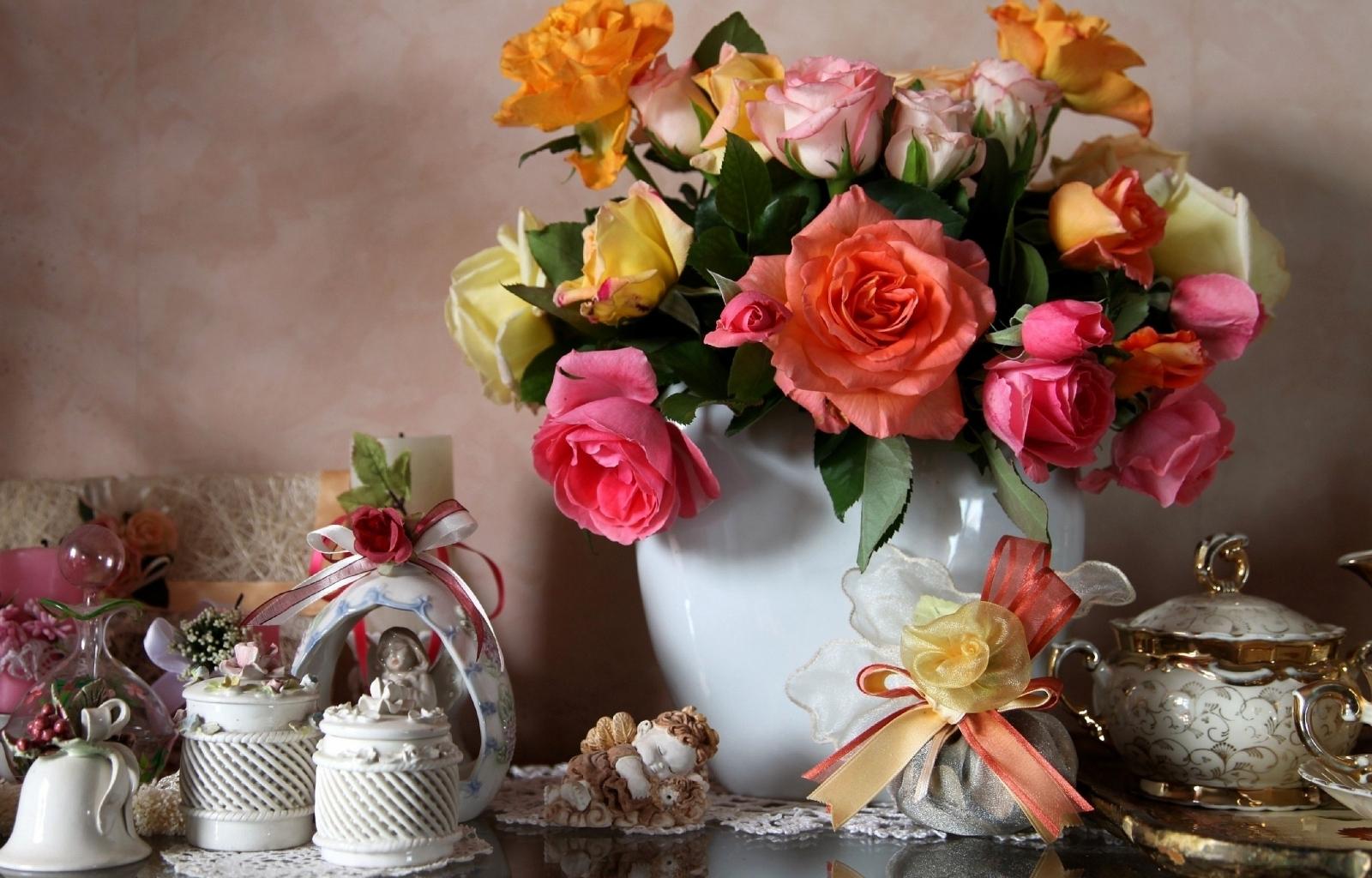 28587 скачать обои Растения, Цветы, Посуда, Букеты, Натюрморт - заставки и картинки бесплатно
