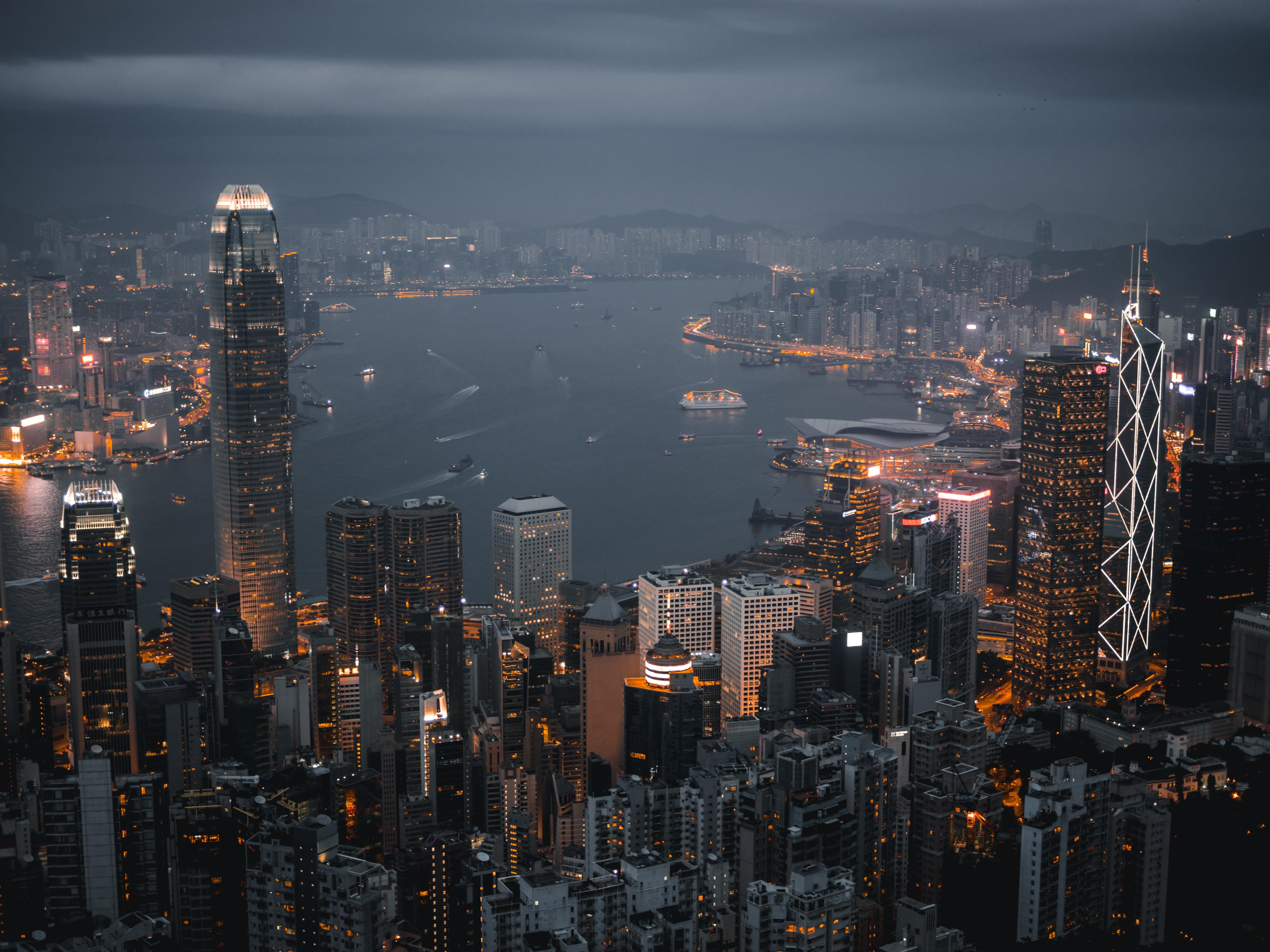 143273 Заставки и Обои Города на телефон. Скачать Ночной Город, Небоскребы, Огни Города, Гонконг, Города картинки бесплатно