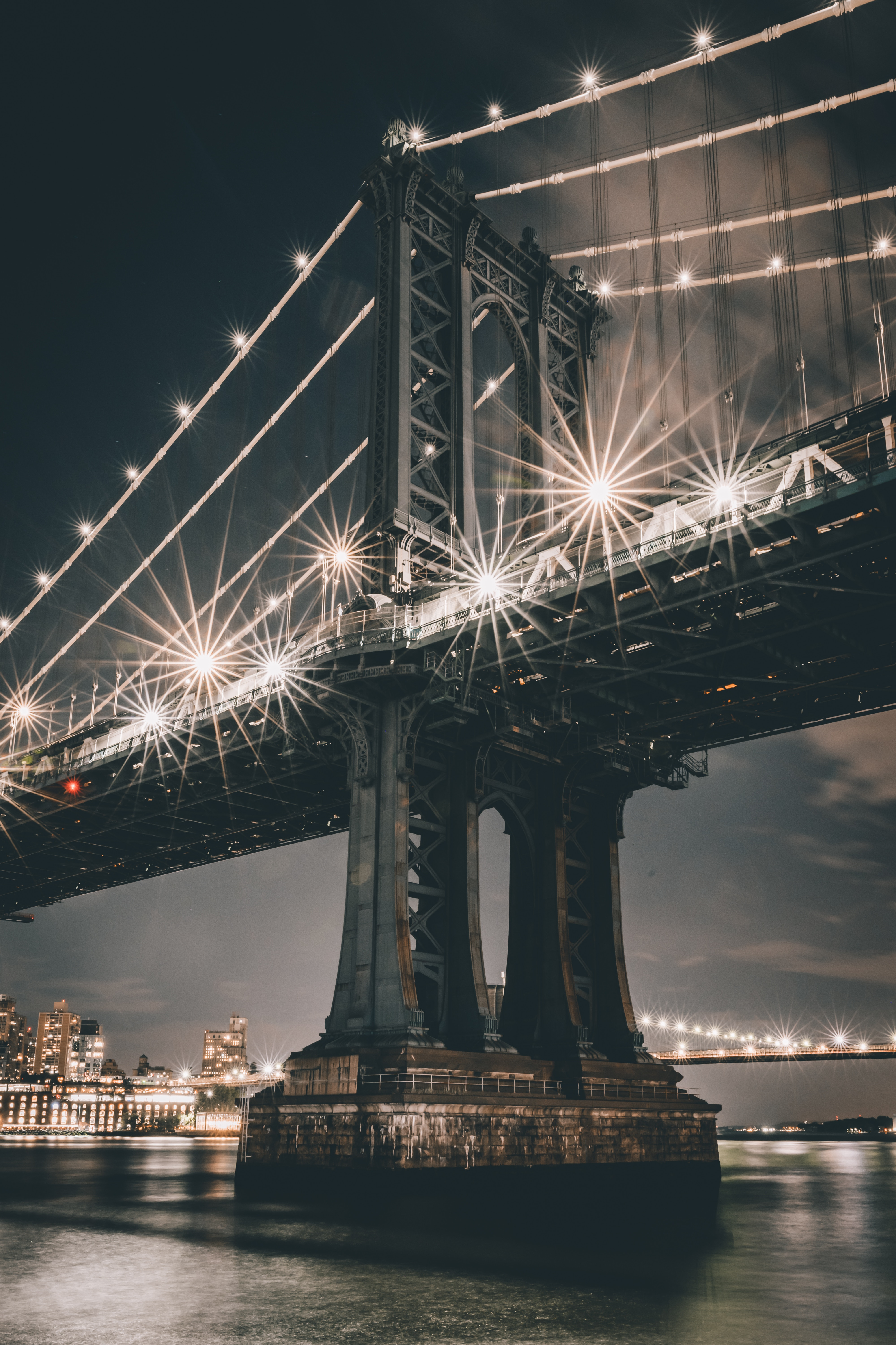 79385 free wallpaper 2160x3840 for phone, download images Cities, Rivers, Architecture, City, Lights, Lanterns, Bridge, Construction, Support 2160x3840 for mobile