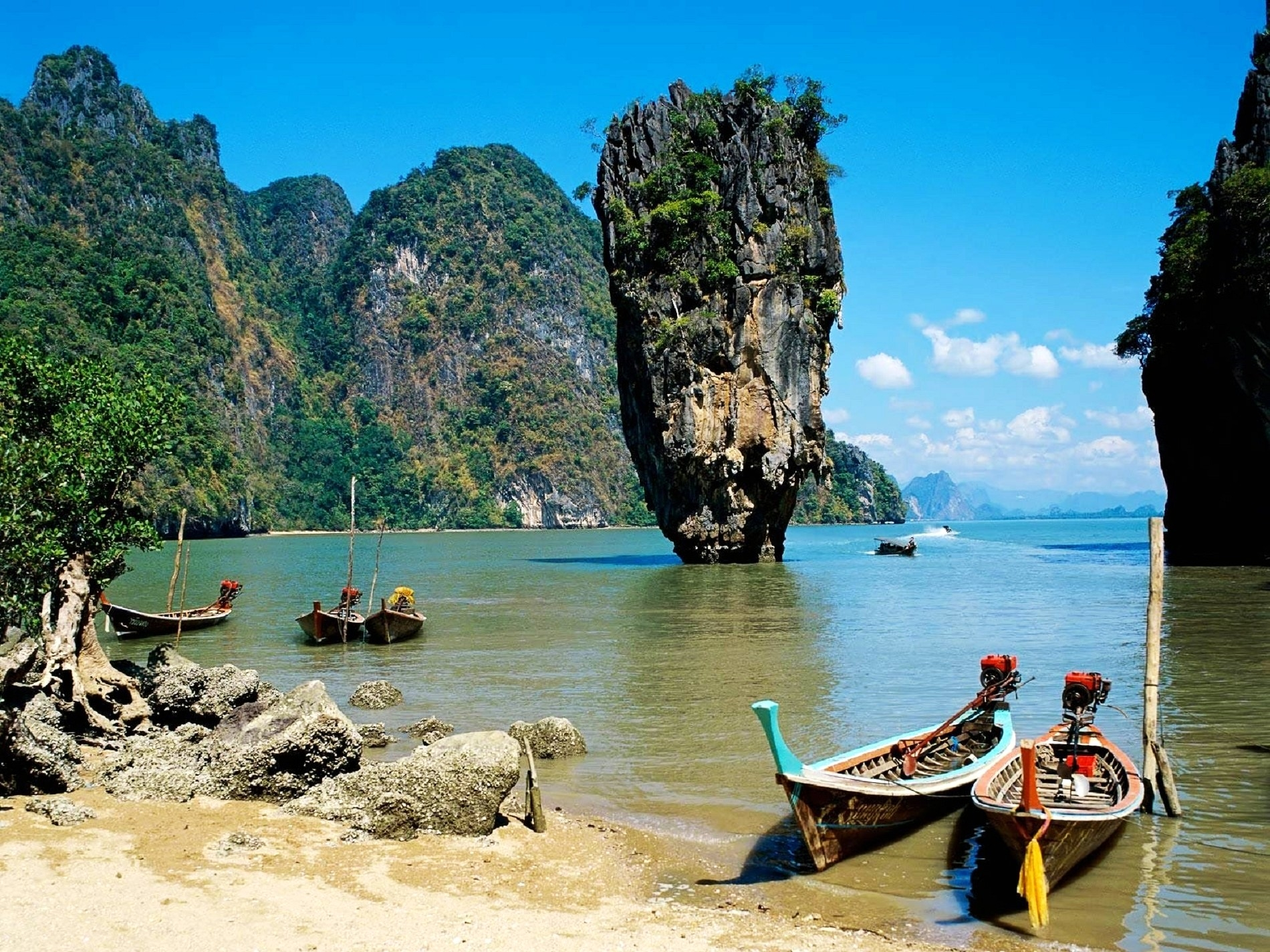 73224 Заставки и Обои Лодки на телефон. Скачать Природа, Таиланд, Пляж, Тропики, Море, Лодки картинки бесплатно