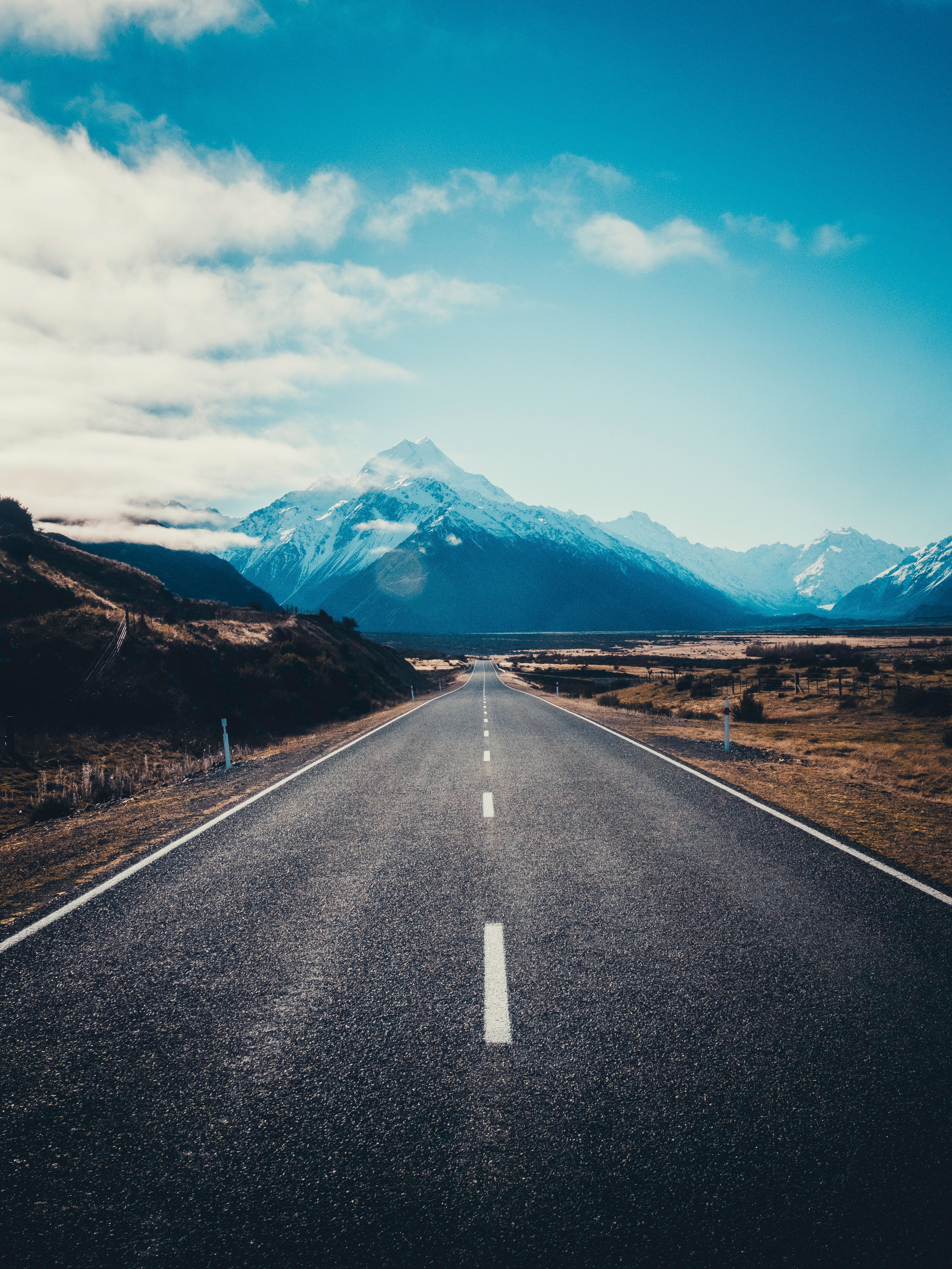 142557 Screensavers and Wallpapers New Zealand for phone. Download Nature, Mountains, New Zealand, Road, Markup, Asphalt, Mount Cook, Mountain Cook pictures for free
