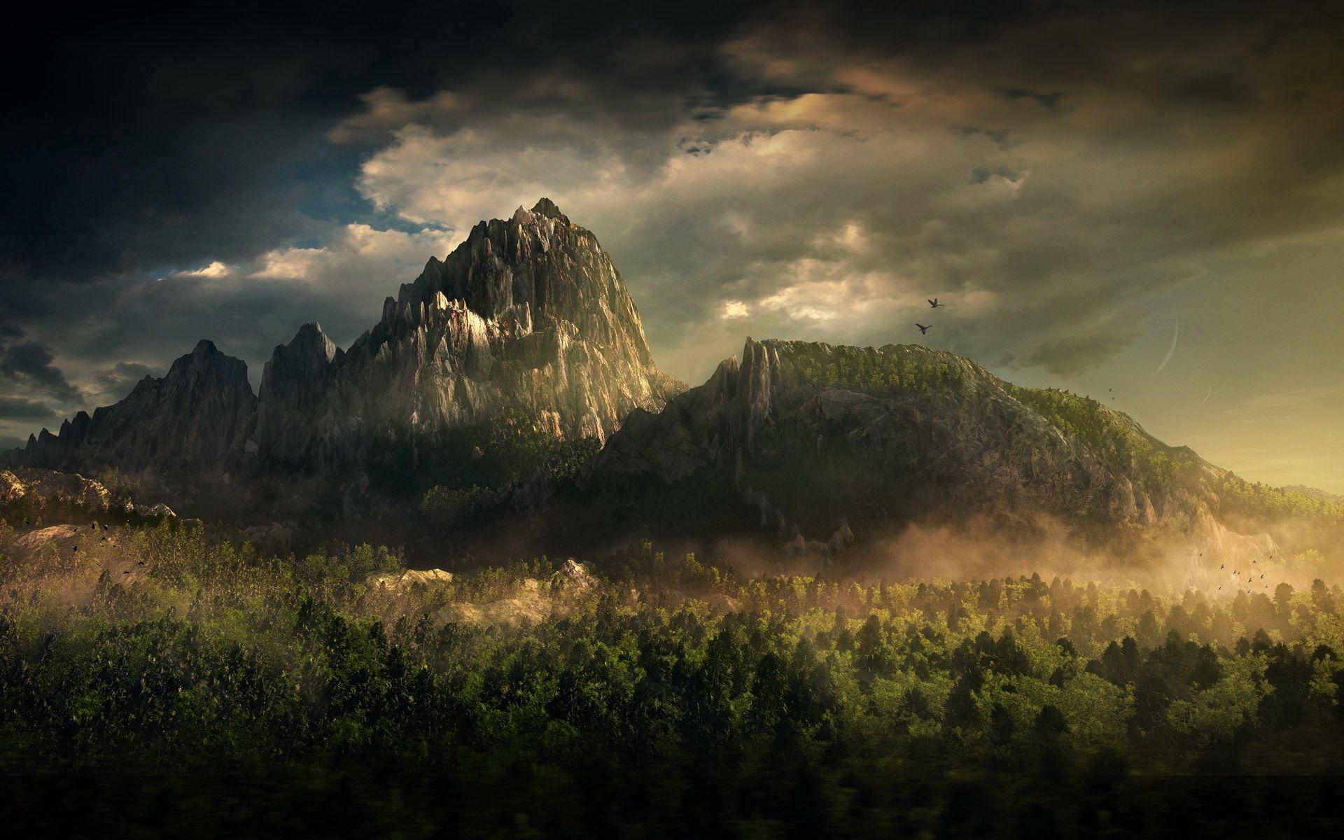 71871 скачать обои Птицы, Горы, Природа, Деревья, Облака, Туман, Вершины - заставки и картинки бесплатно