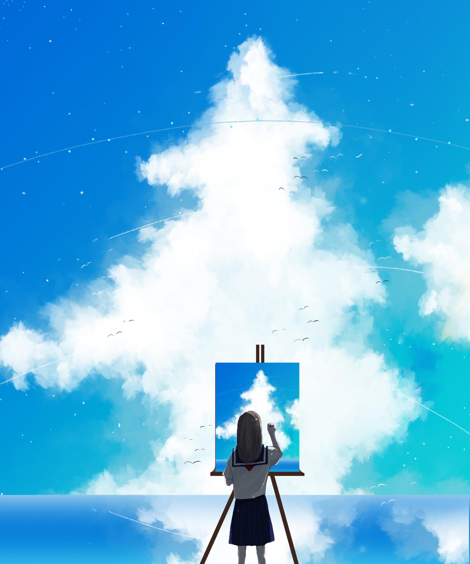 128737 Hintergrundbild herunterladen Sky, Kunst, Künstler, Clouds, Farbe, Segeltuch, Leinwand, Zeichnen - Bildschirmschoner und Bilder kostenlos