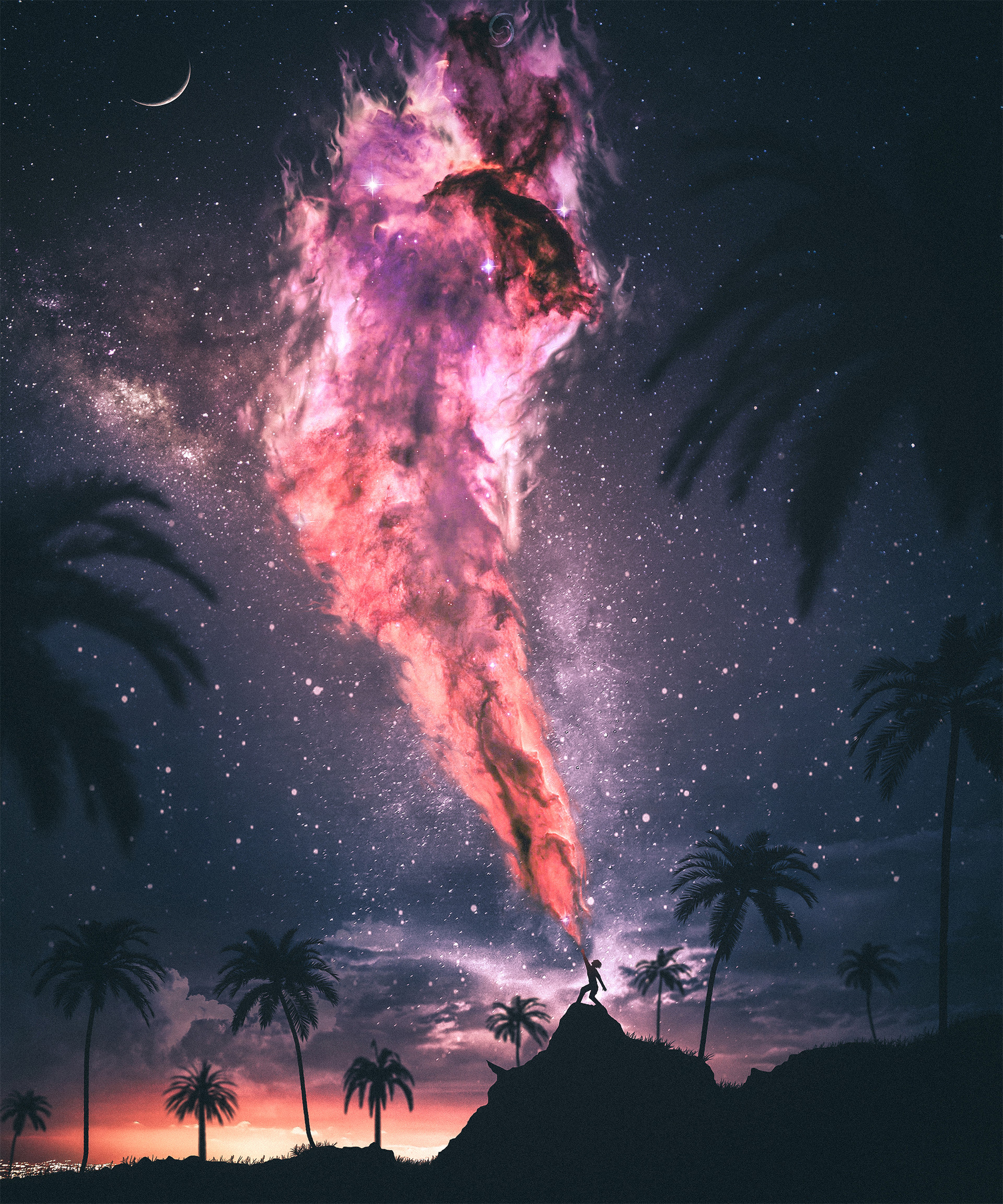67361 download wallpaper Fantasy, Silhouette, Magic, Night, Force, Strength, Starry Sky screensavers and pictures for free