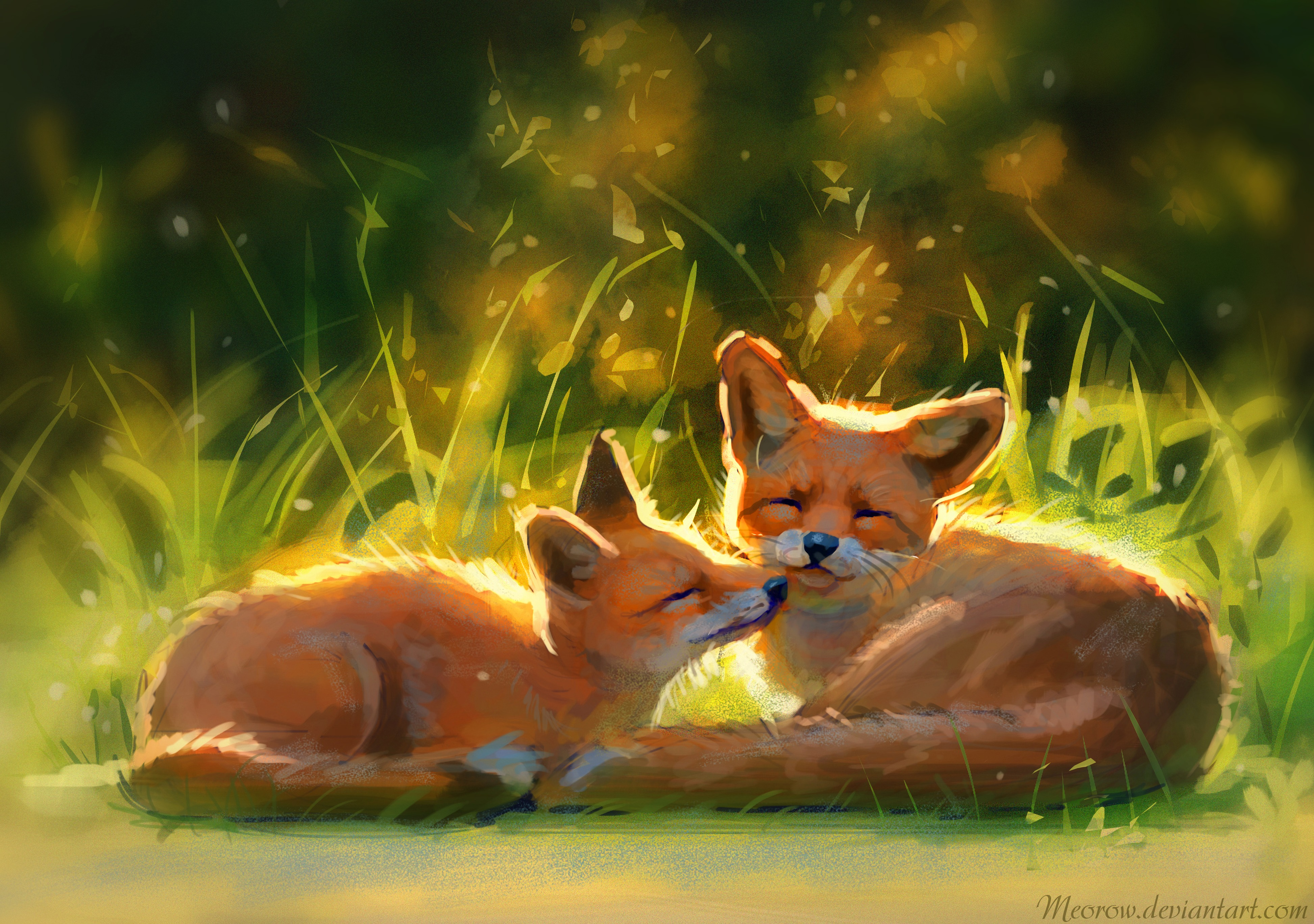 74871 download wallpaper Nice, Sweetheart, Grass, Art, Fox, Animals screensavers and pictures for free