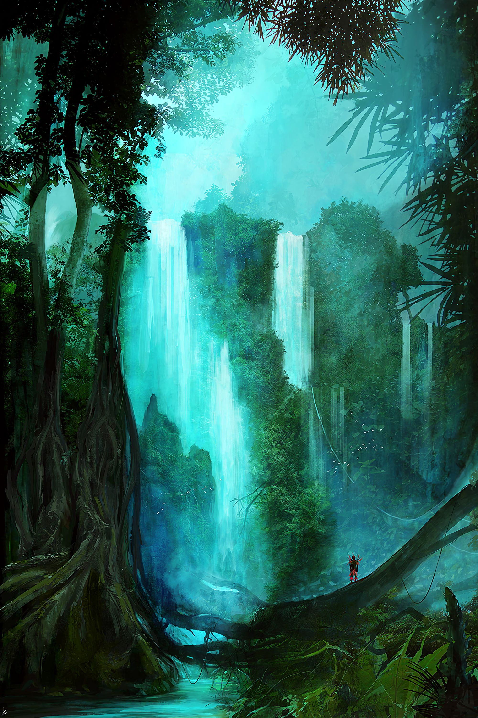 65379 download wallpaper Waterfall, Forest, Trees, Silhouette, Art screensavers and pictures for free