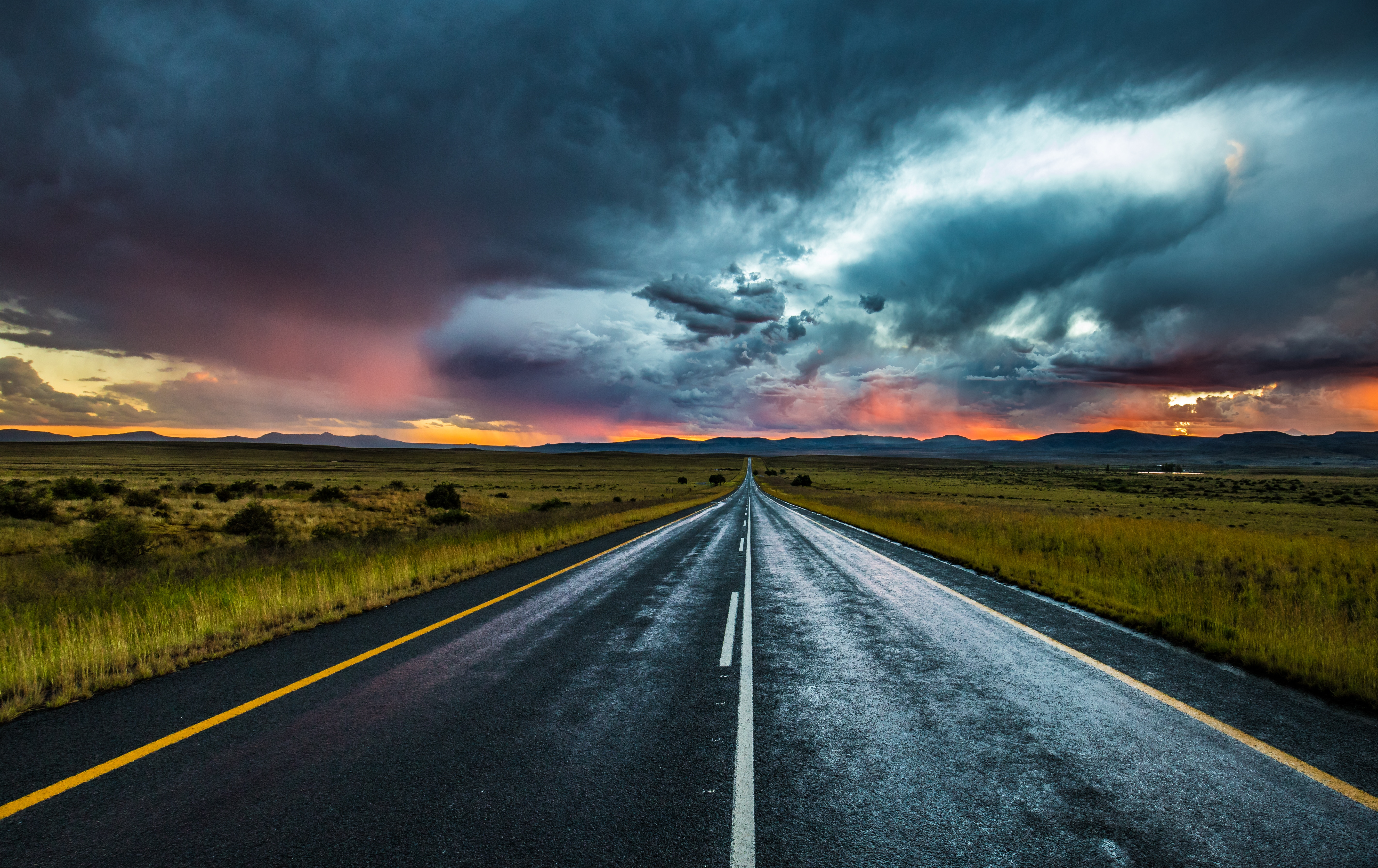 68042 Screensavers and Wallpapers Road for phone. Download Nature, Clouds, Horizon, Road, Markup, Evening pictures for free