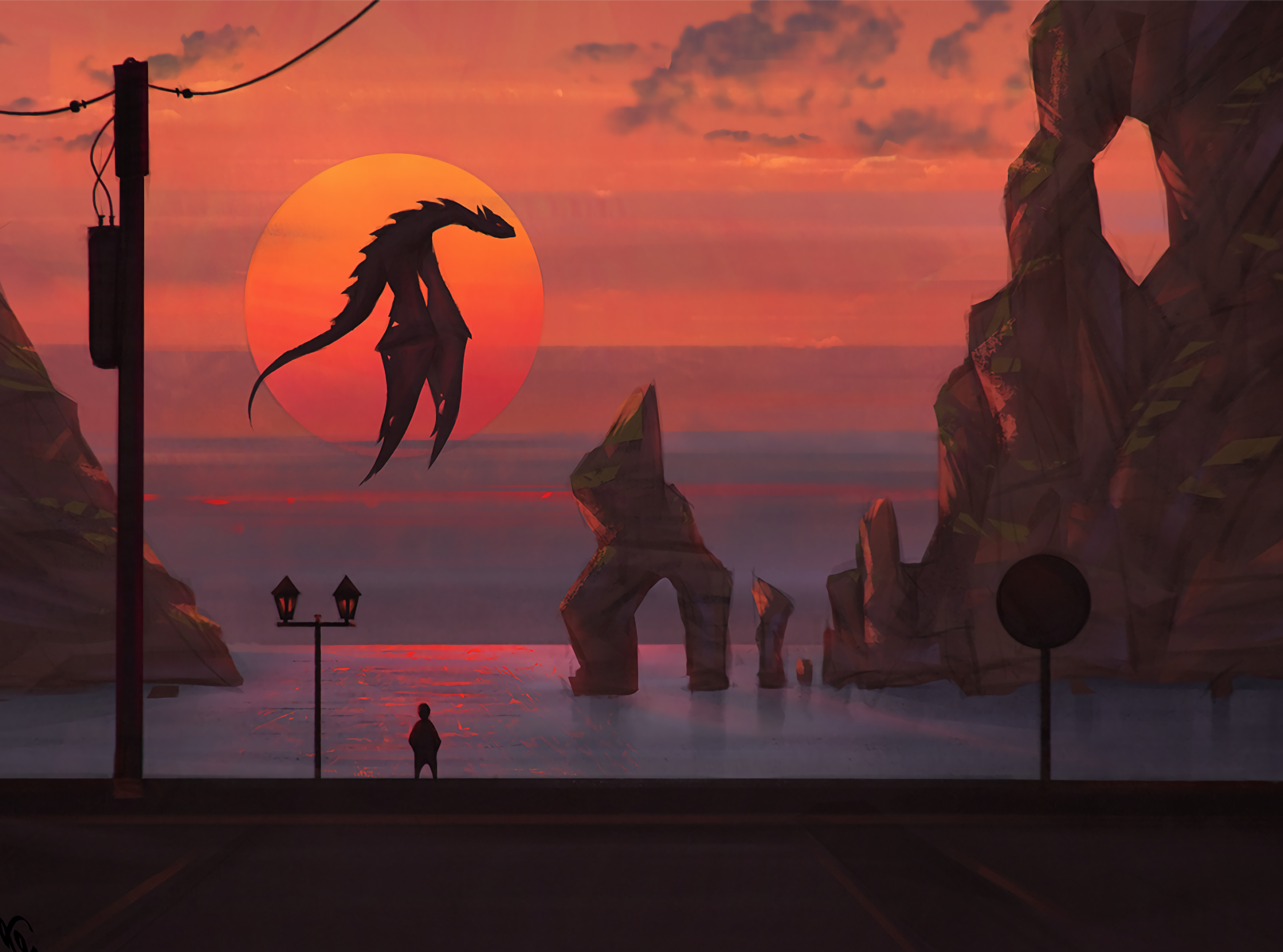 139802 Screensavers and Wallpapers Fiction for phone. Download Sunset, Art, Sun, Dragon, Fiction, That's Incredible pictures for free