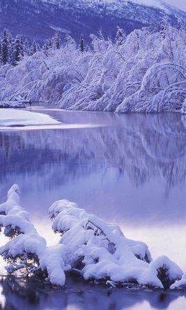 8923 скачать обои Пейзаж, Зима, Река, Снег - заставки и картинки бесплатно