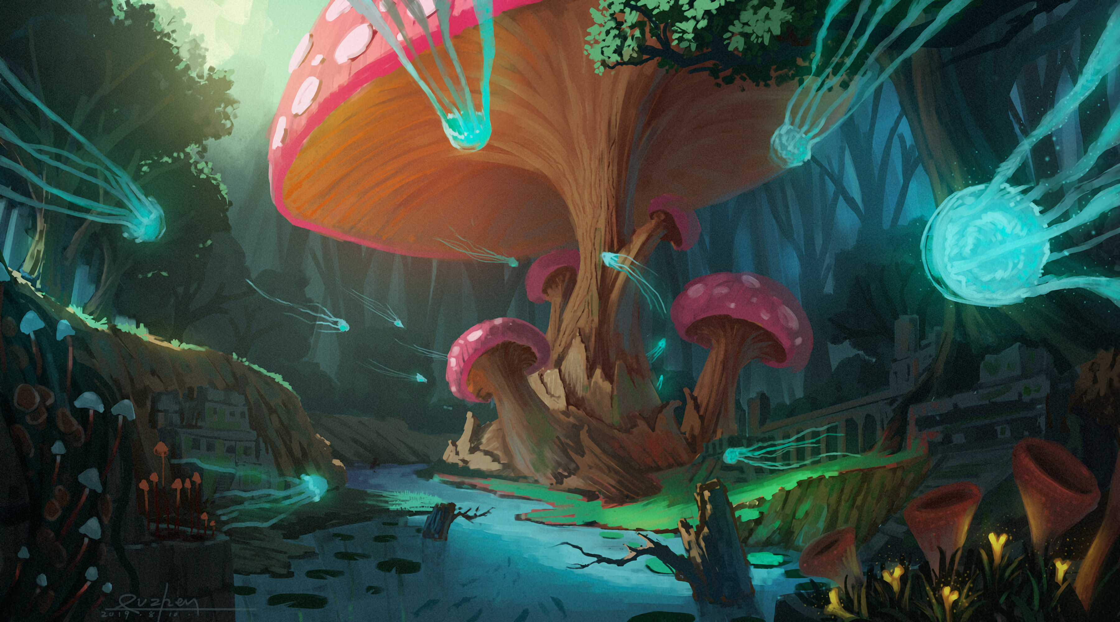 76544 Screensavers and Wallpapers Fiction for phone. Download Art, Jellyfish, Mashrooms, Wood, Tree, Fiction, That's Incredible pictures for free