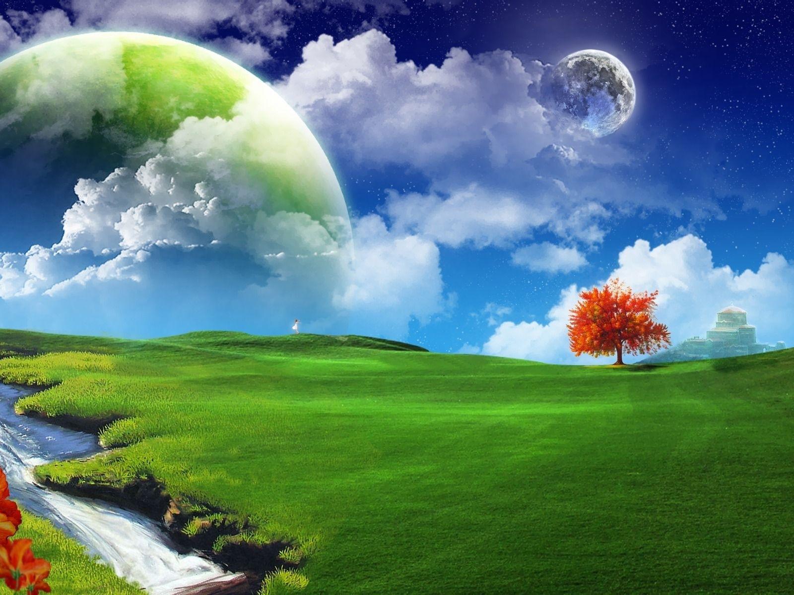 1095 скачать обои Пейзаж, Трава, Небо, Планеты - заставки и картинки бесплатно