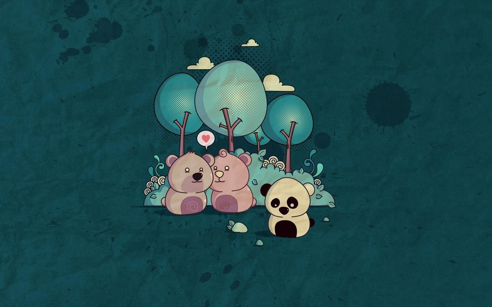 120196 download wallpaper Art, Bear, Trees, Paper, Pandas screensavers and pictures for free